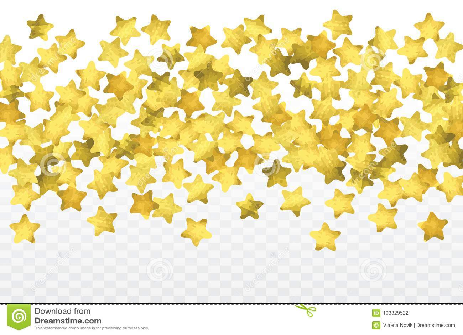 Confettis d étoile d isolement sur le fond transparent