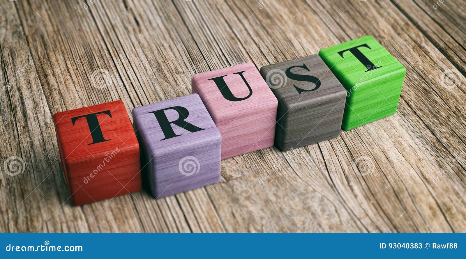 Confiance de Word sur les blocs en bois illustration 3D