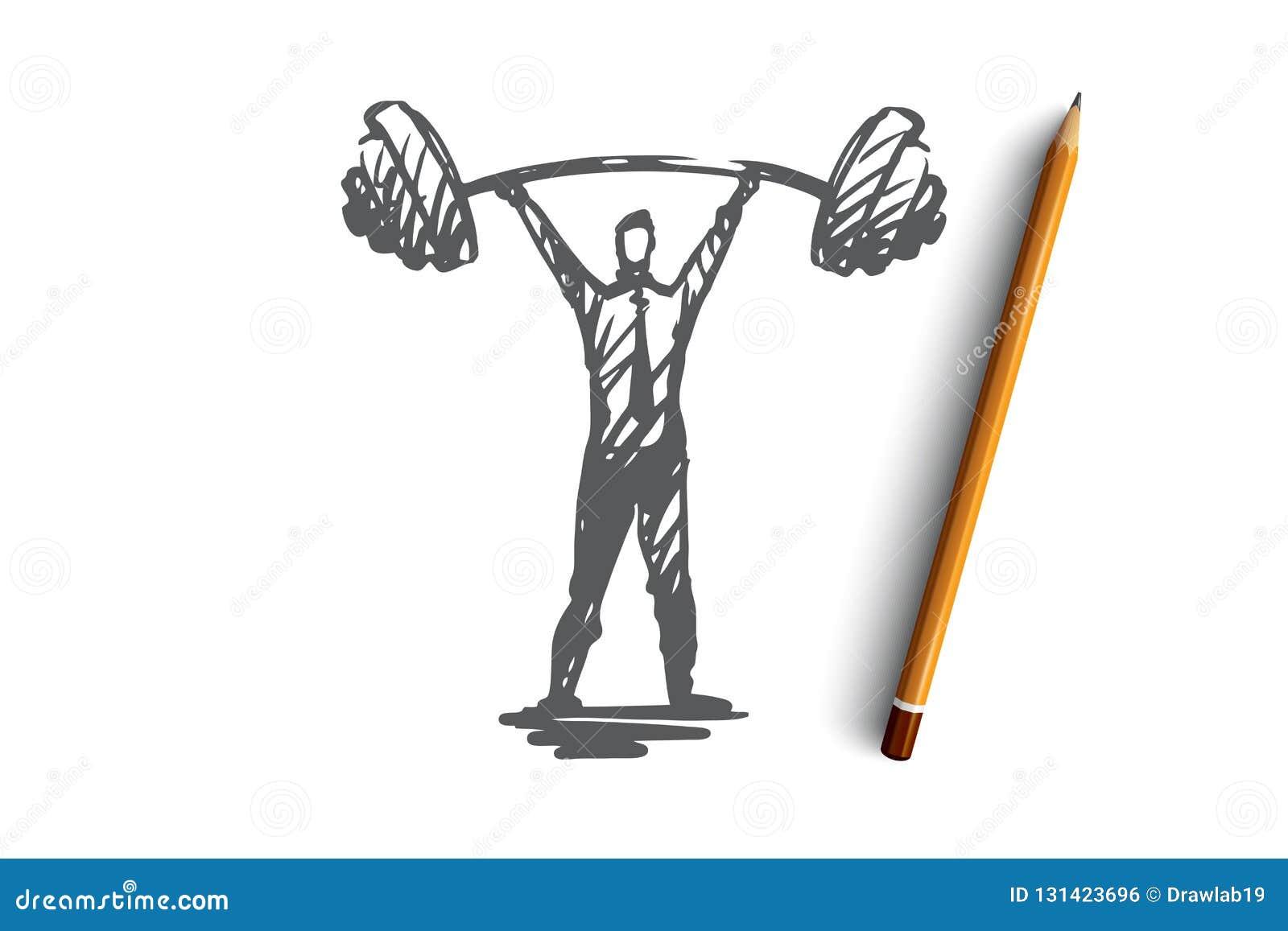 Confiance en soi, succès, patron, force, concept de carrière Vecteur d isolement tiré par la main