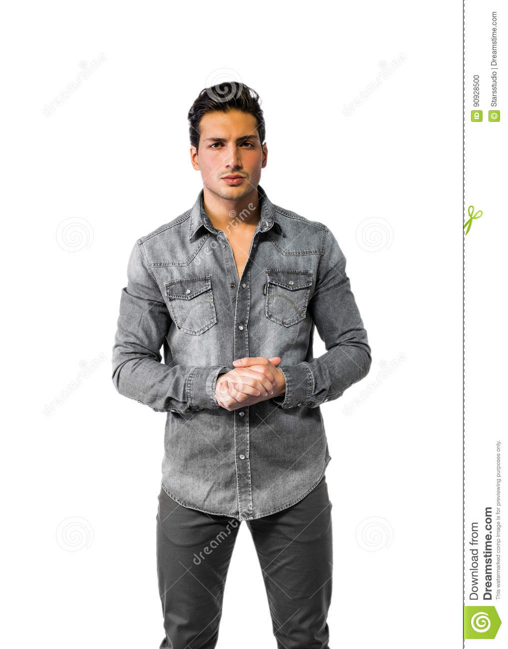 Confident Attractive Young Man With Denim Shirt Stock Photo Image