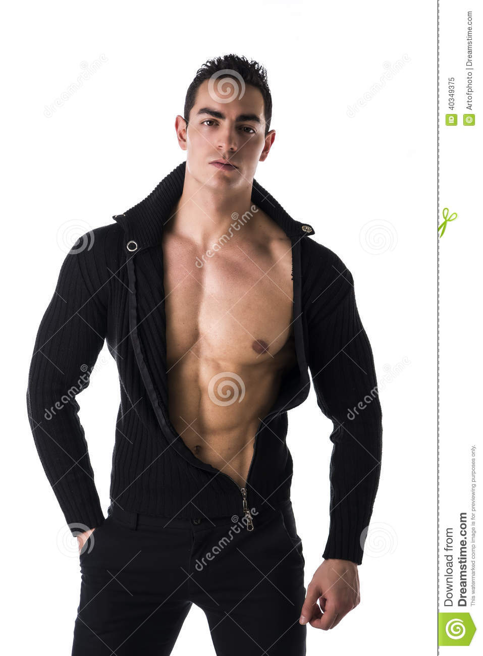 Confident, Attractive Young Man With Open Shirt On Stock