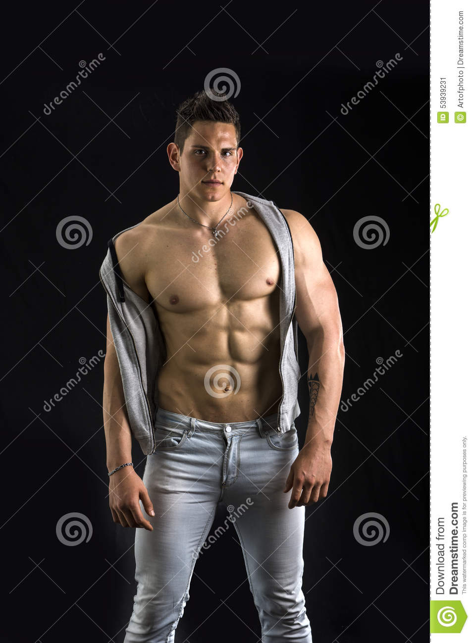 Confident Attractive Young Man Open Vest Muscular Torso Ripped Abs Pecs Isolated Black Stylish Guy Model