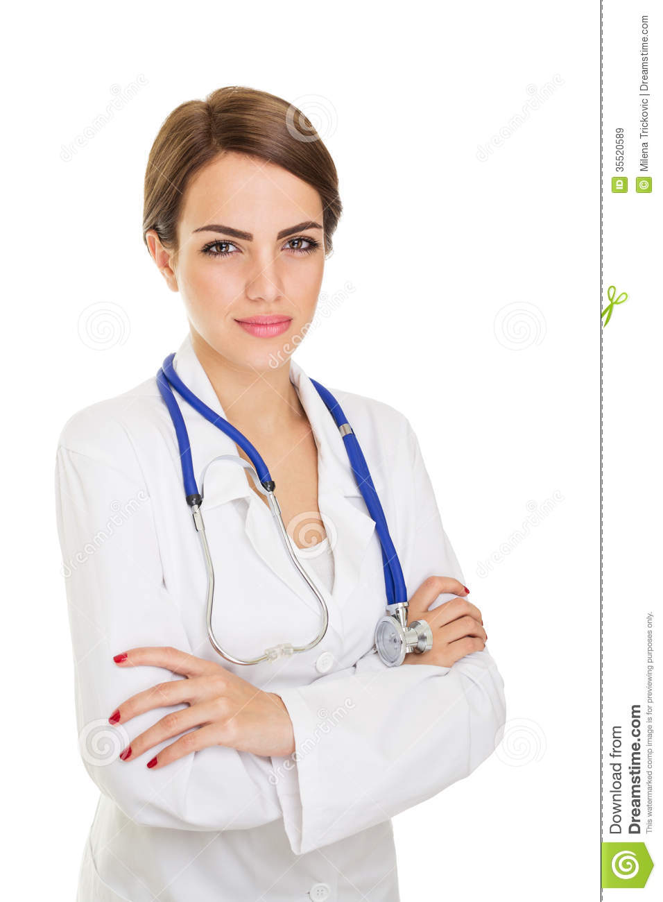 Confident young beautiful caucasian female doctor wearing white coat