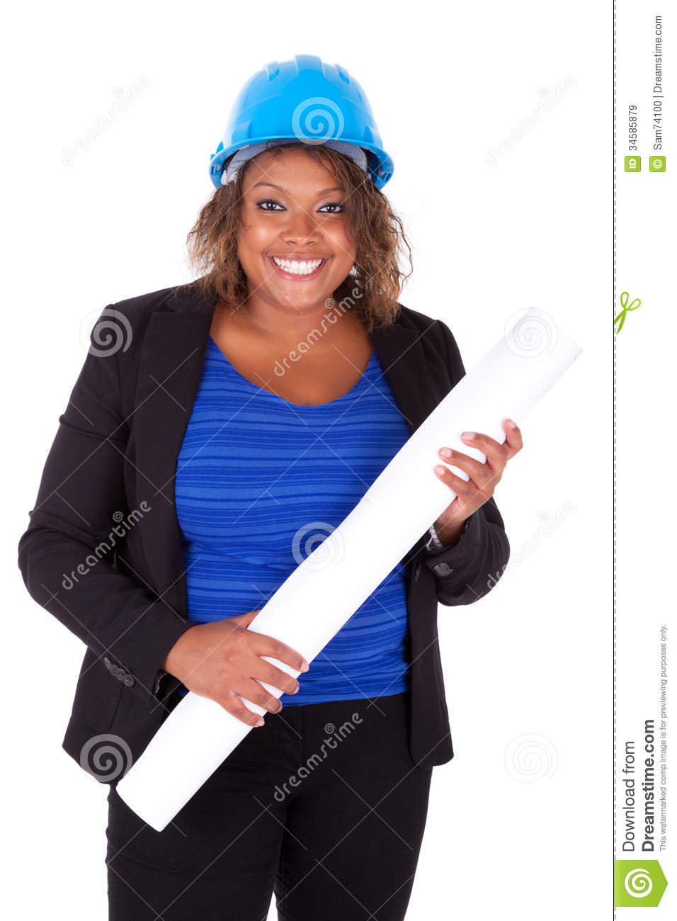 Confident Black African American Woman Architect Smiling ...