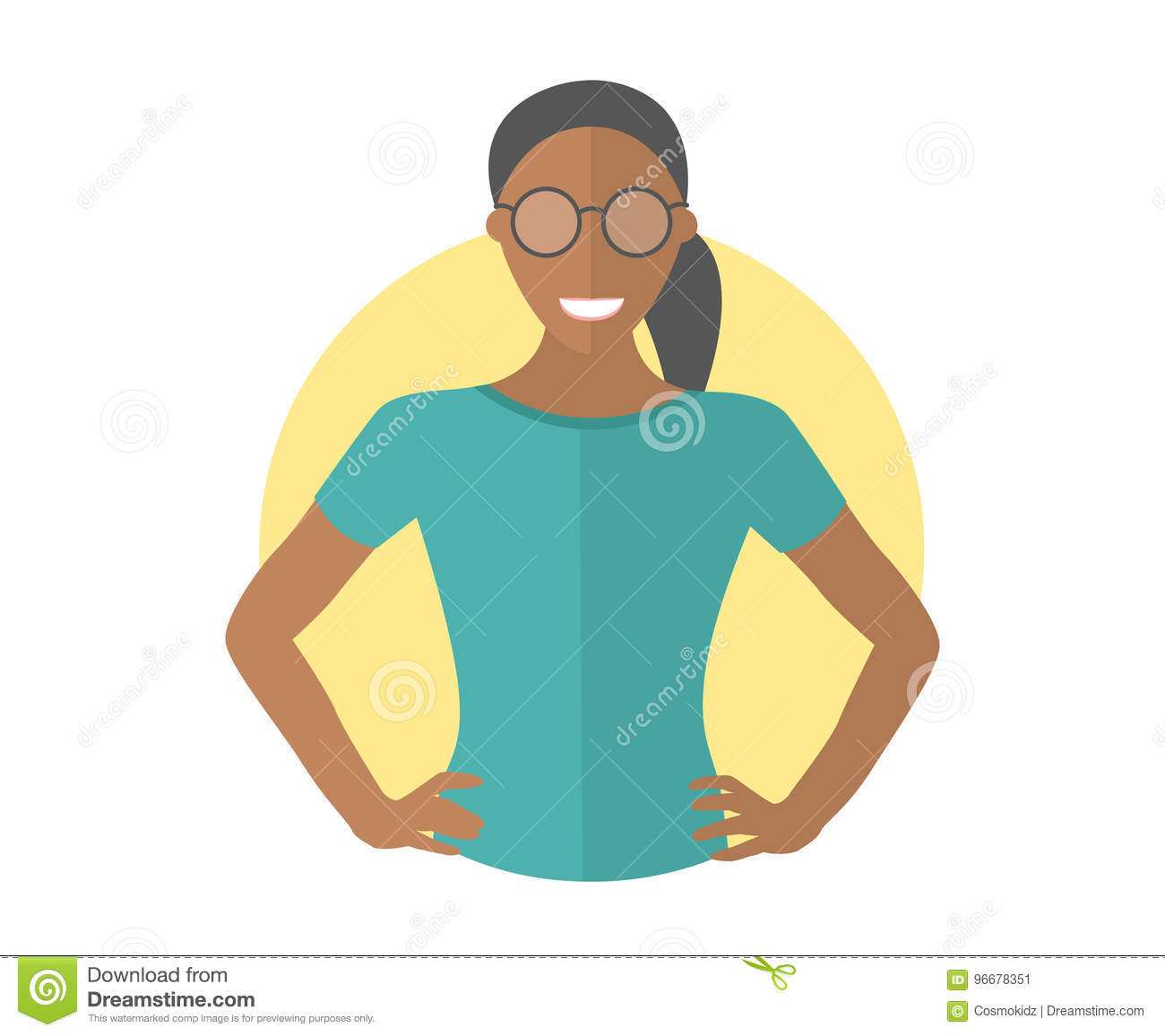 Confident black pretty girl in glasses. Flat design icon. Resolute woman with arms akimbo. Simply editable isolated vector