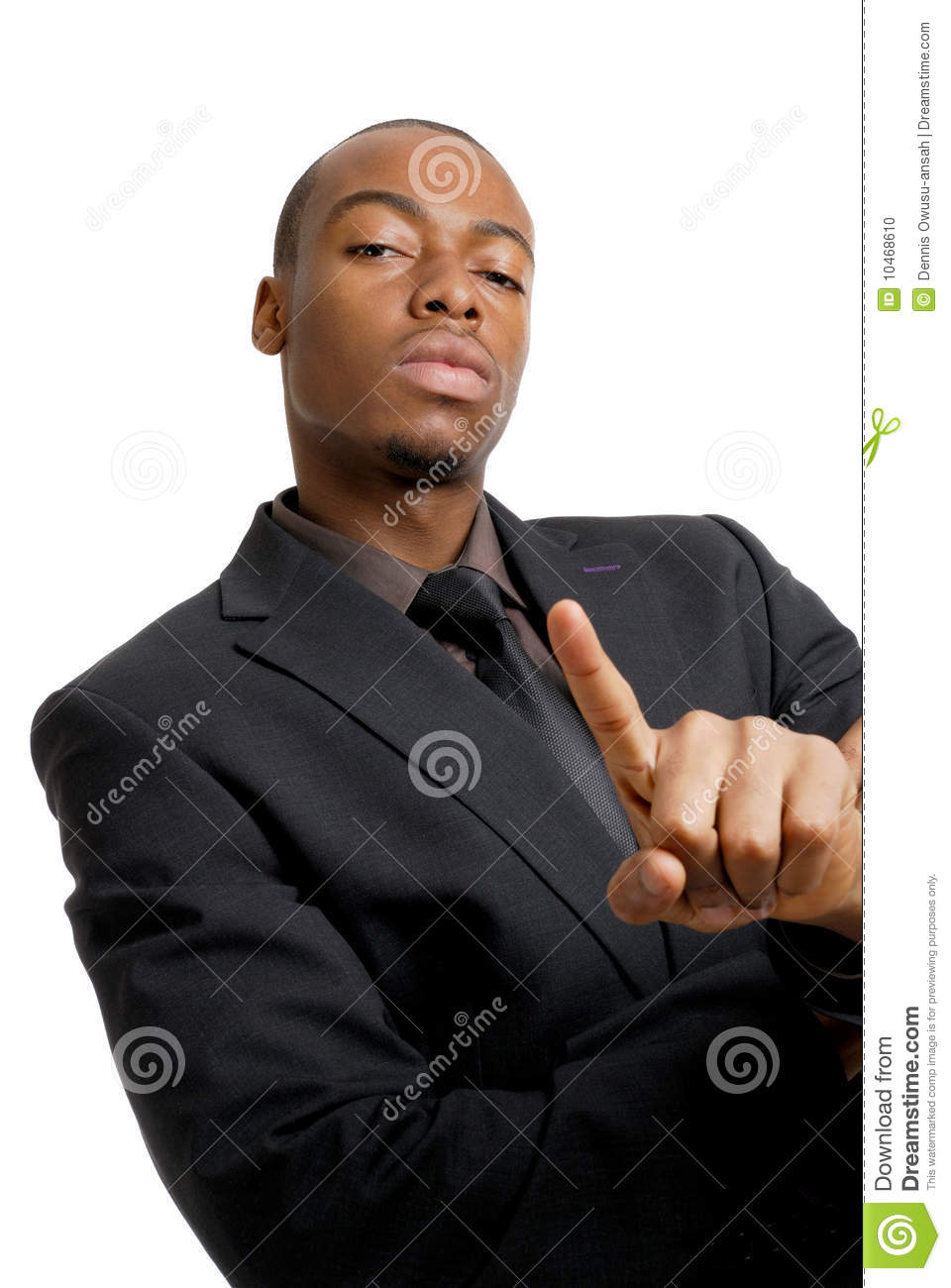 Confident Business Man With Number One Finger Gest Stock