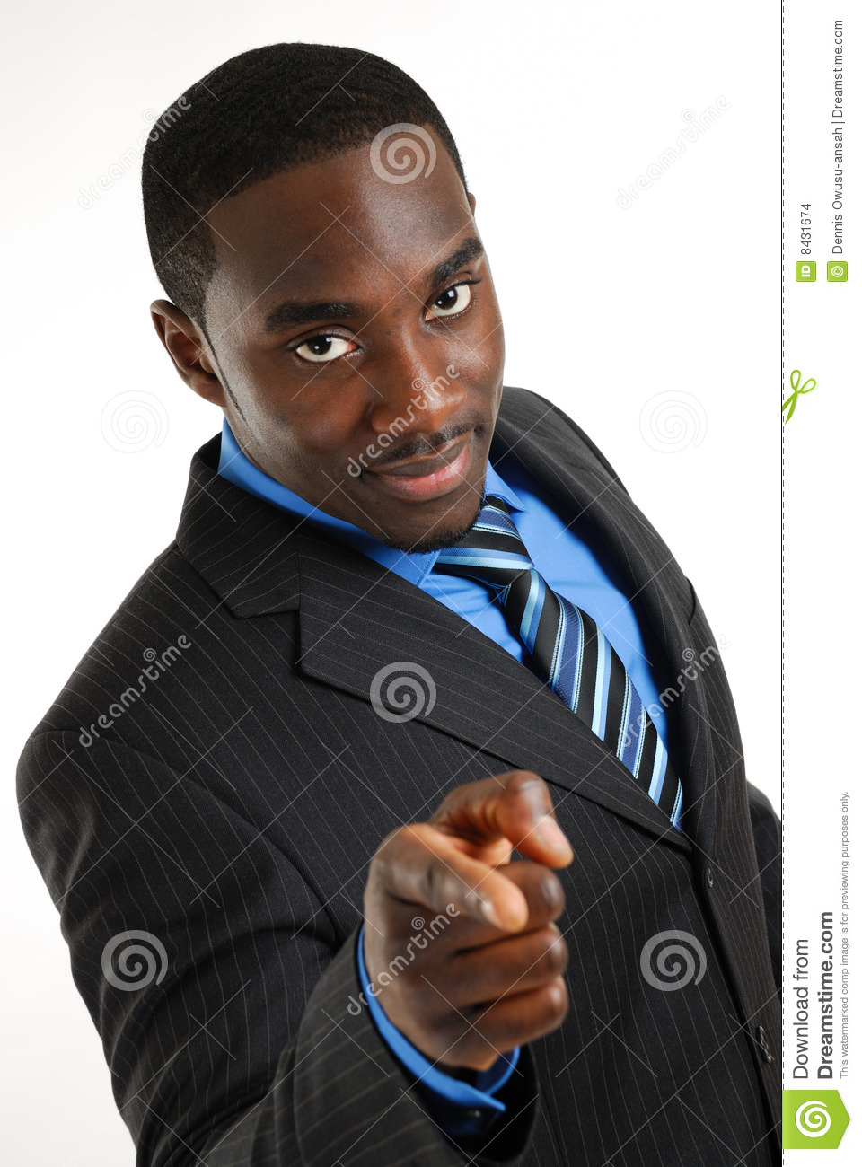 Confident business man pointing
