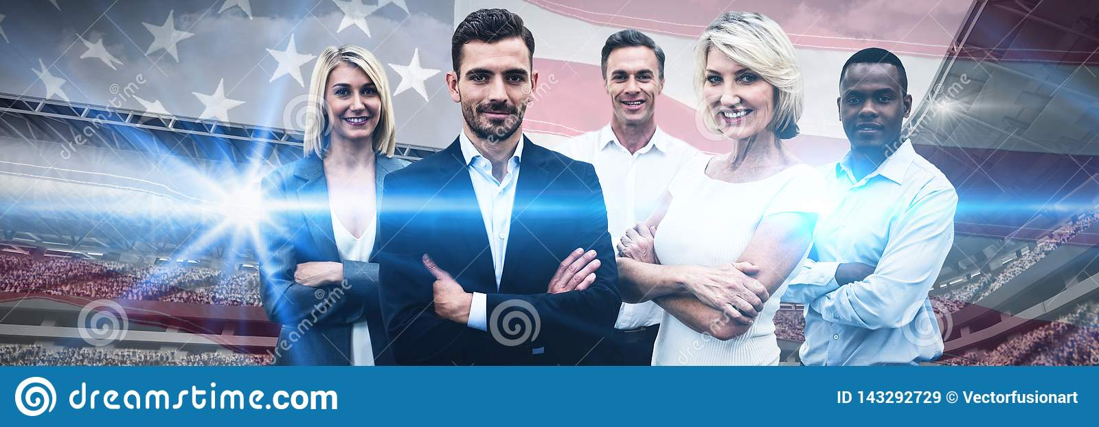 Composite image of confident business people with arms crossed standing over white background