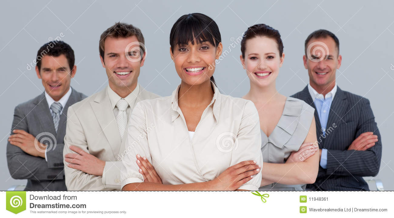 Confident business people with folded arms
