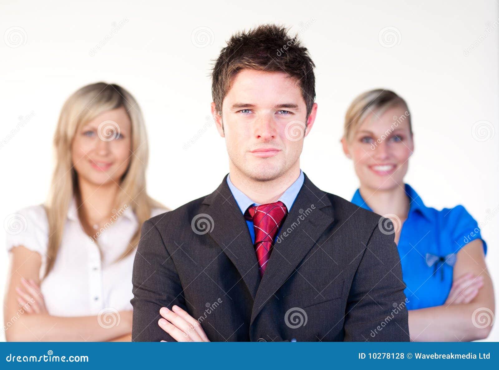 Confident businessman infront of the women