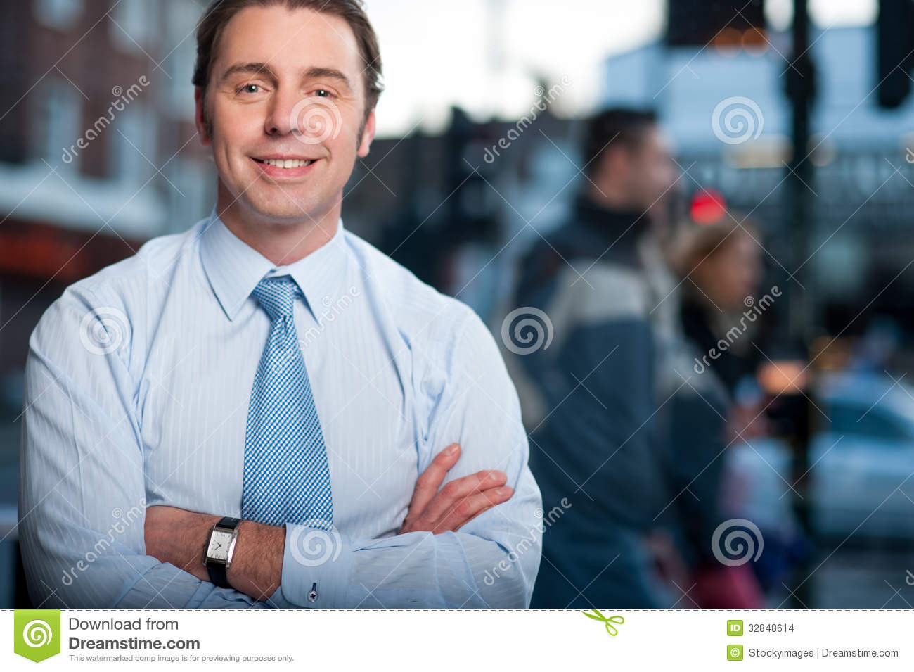 Confident Businessman Posing Street Background Stock Photo
