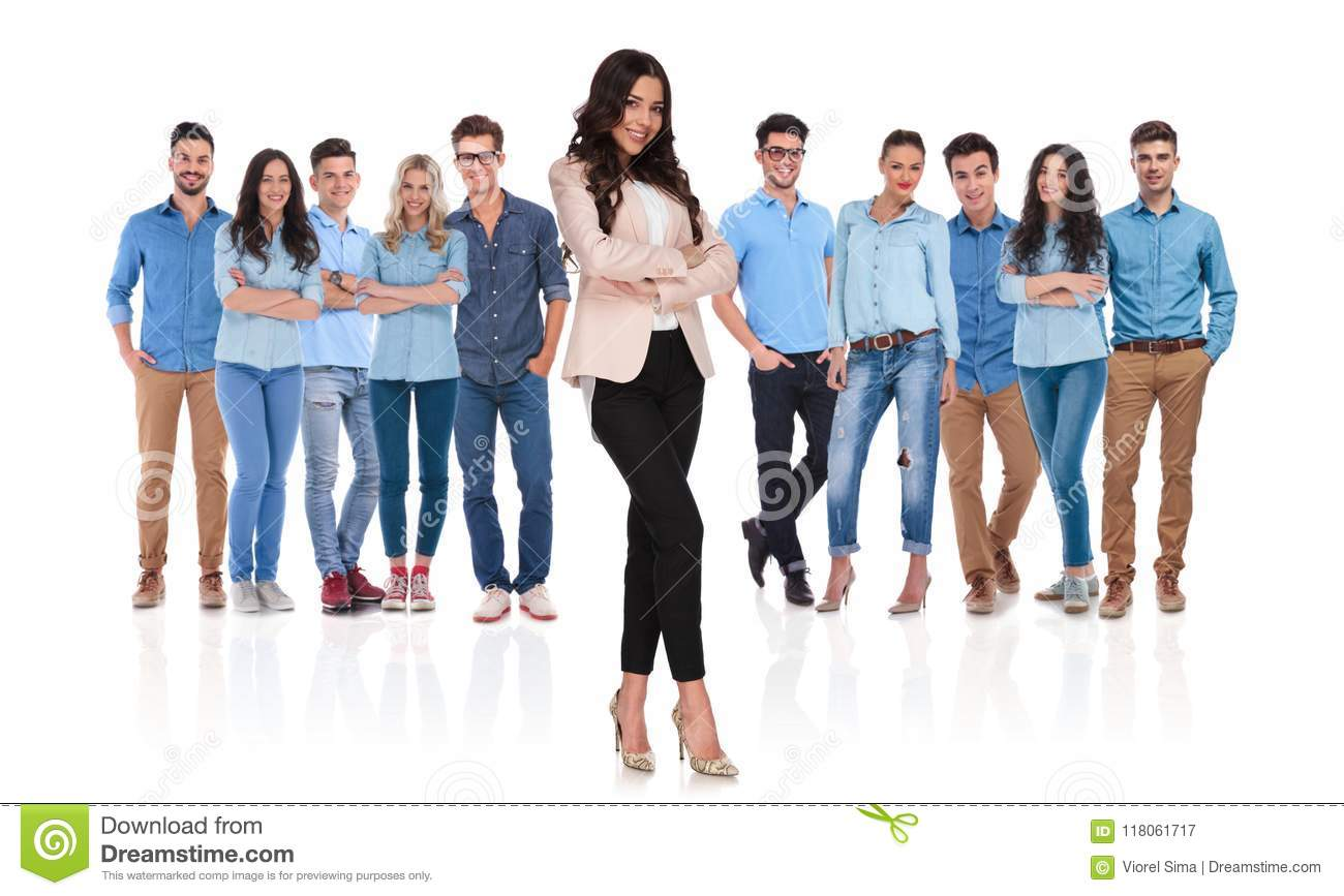 confident casual team with businesswoman leader standing in front