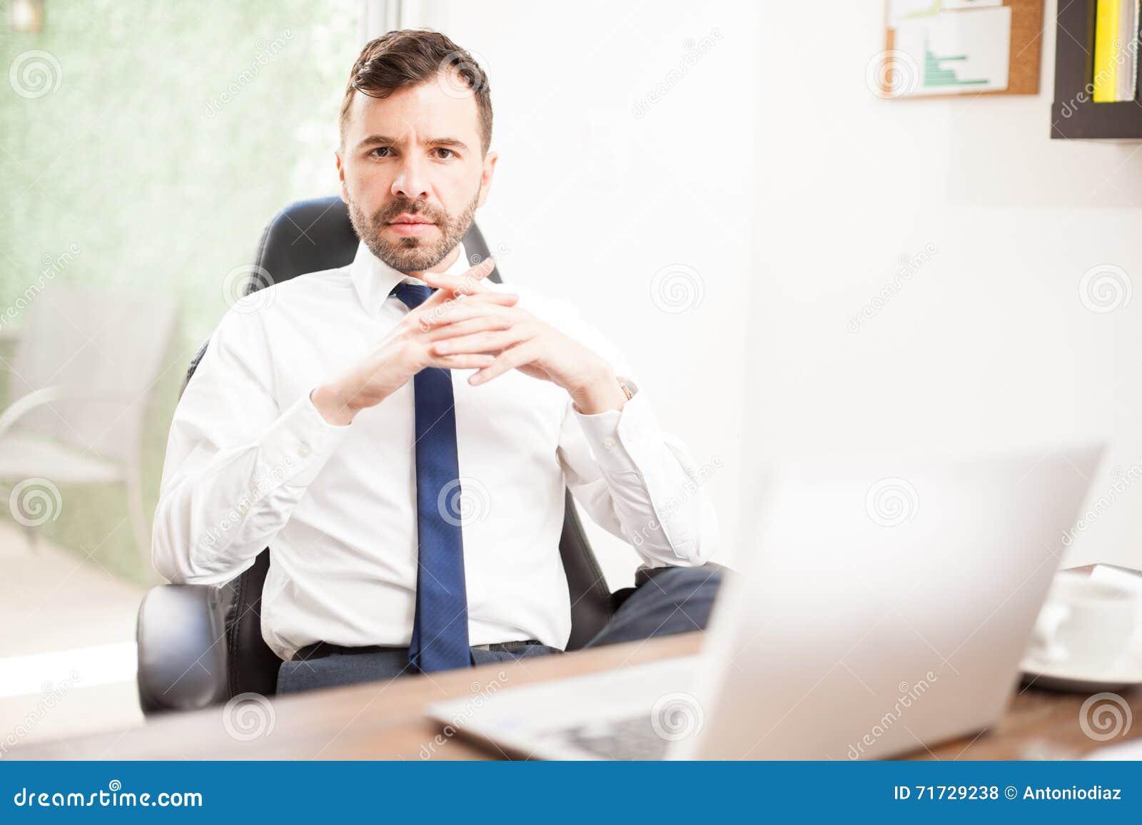 Confident Hispanic Ceo In His Office Stock Photo Image