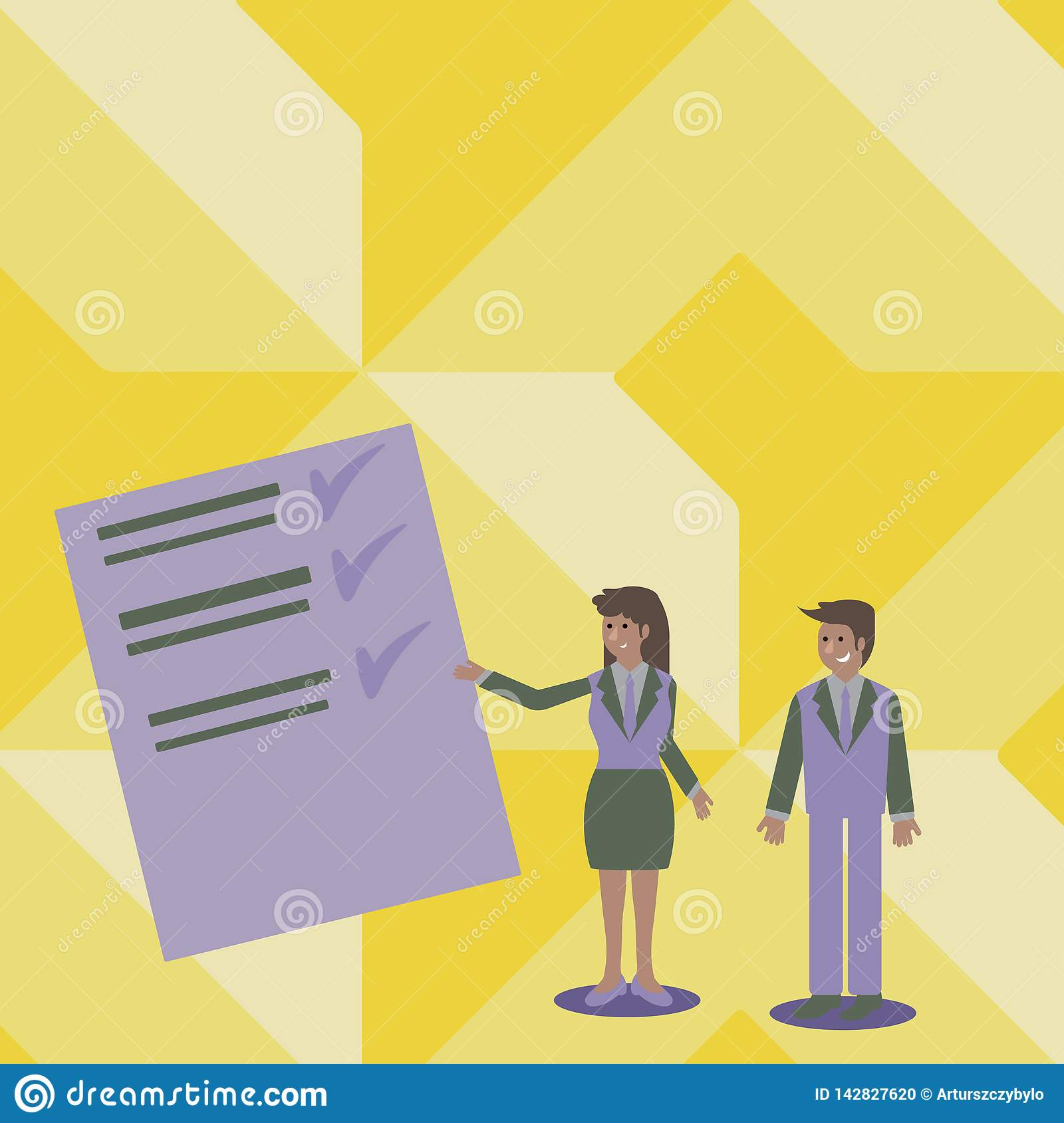 Confident Man and Woman in Business Suit Standing, Gesturing and Presenting Data Report on Color Board. Creative