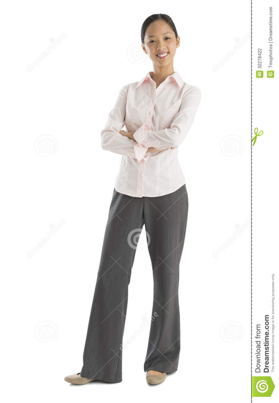 Confident Mid Adult Businesswoman Standing Arms Crossed