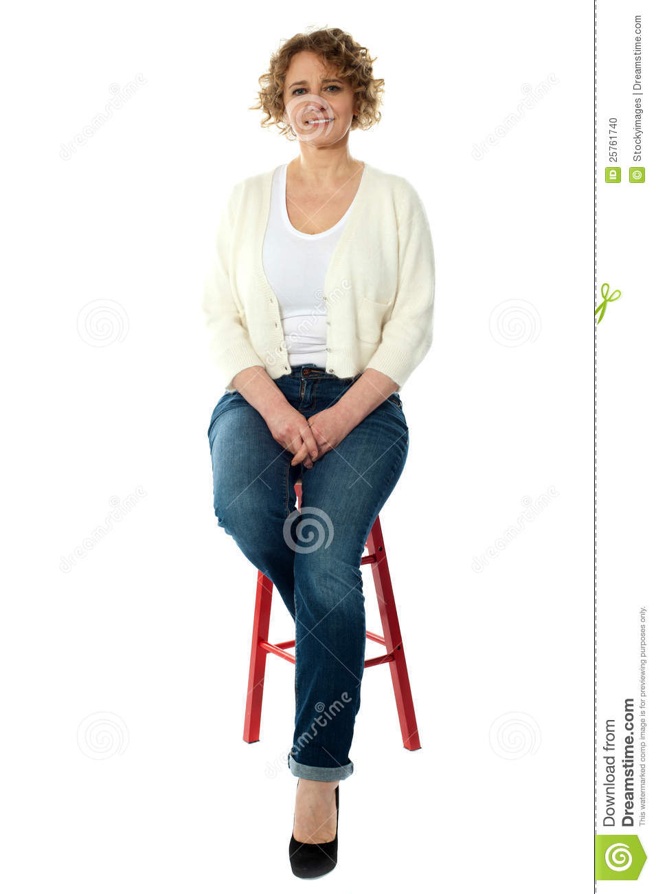 Confident Smiling Woman Sitting On Stool Stock Photo Image 25761740