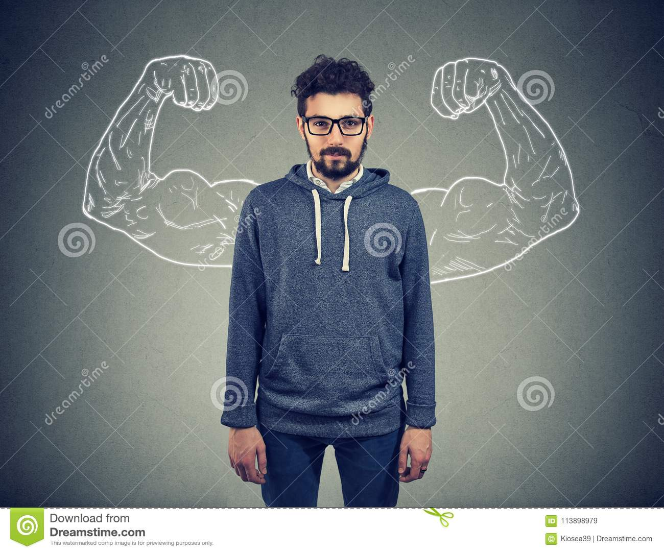 Confident strong man hipster on wall background