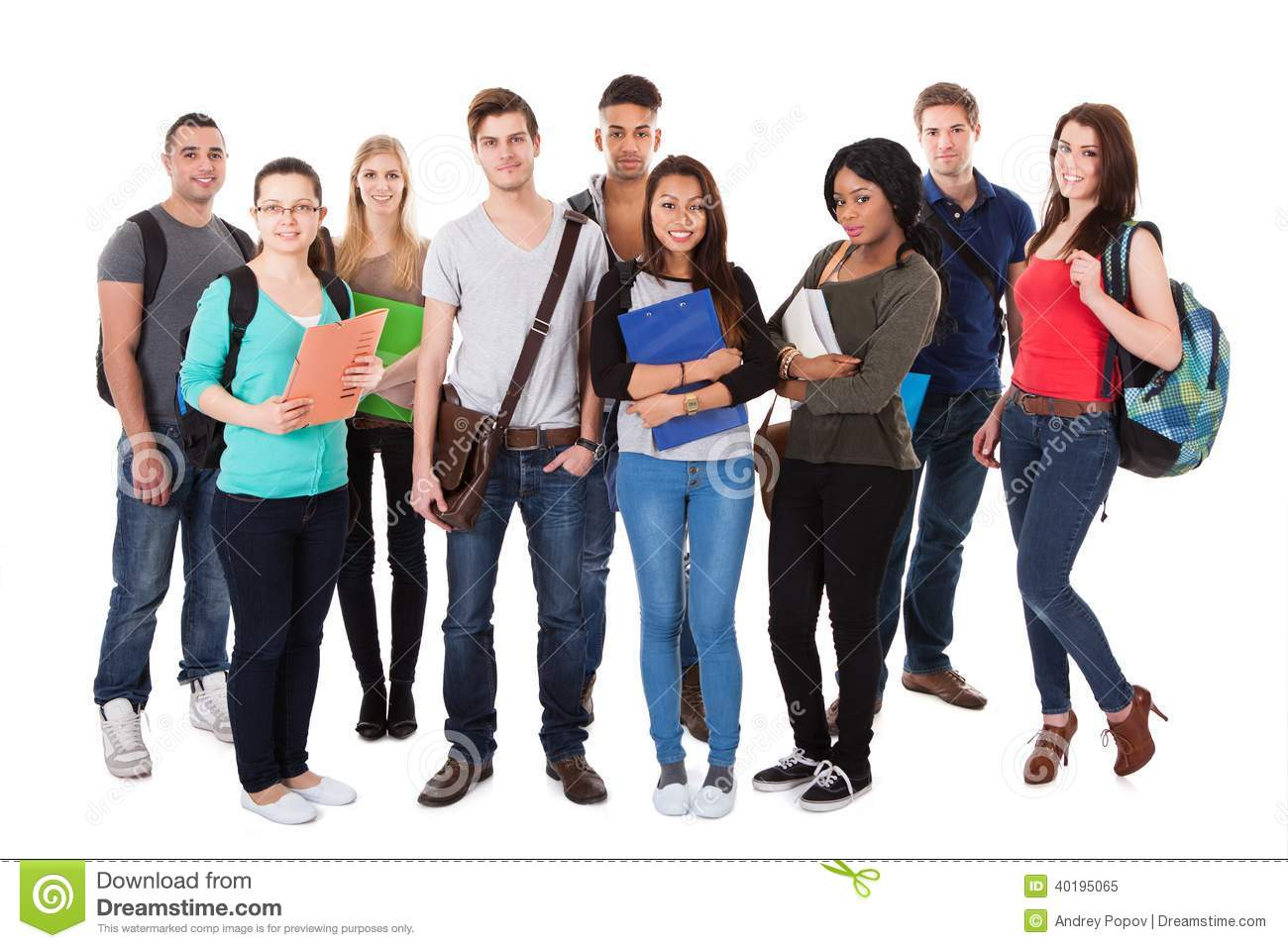 Full length portrait of confident college students standing together ...