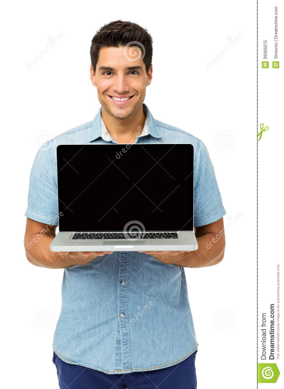 Confident Young Man Showing Laptop
