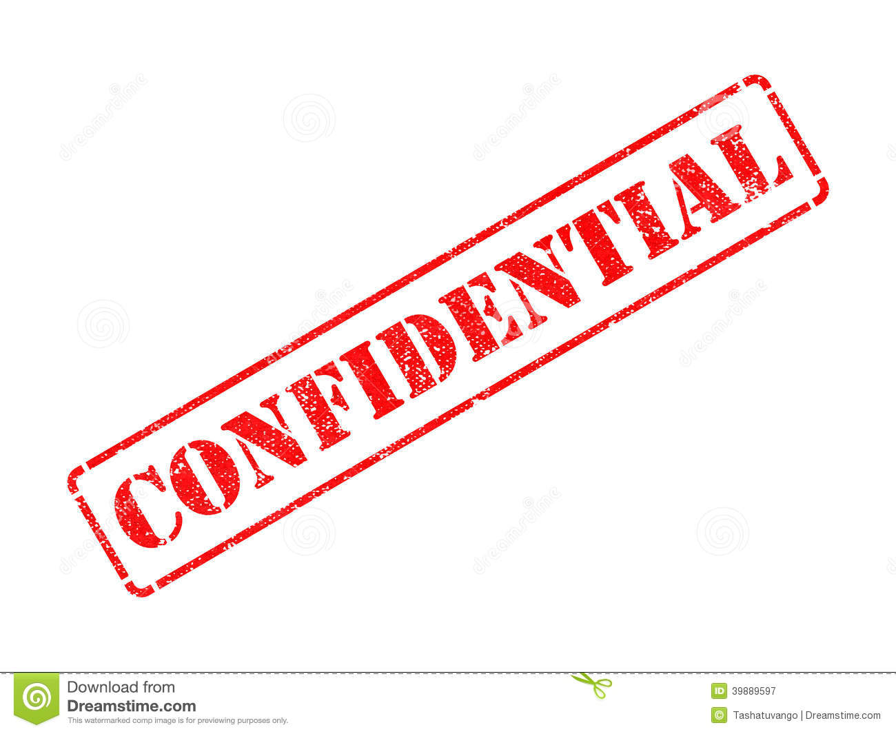 Confidential On Red Rubber Stamp