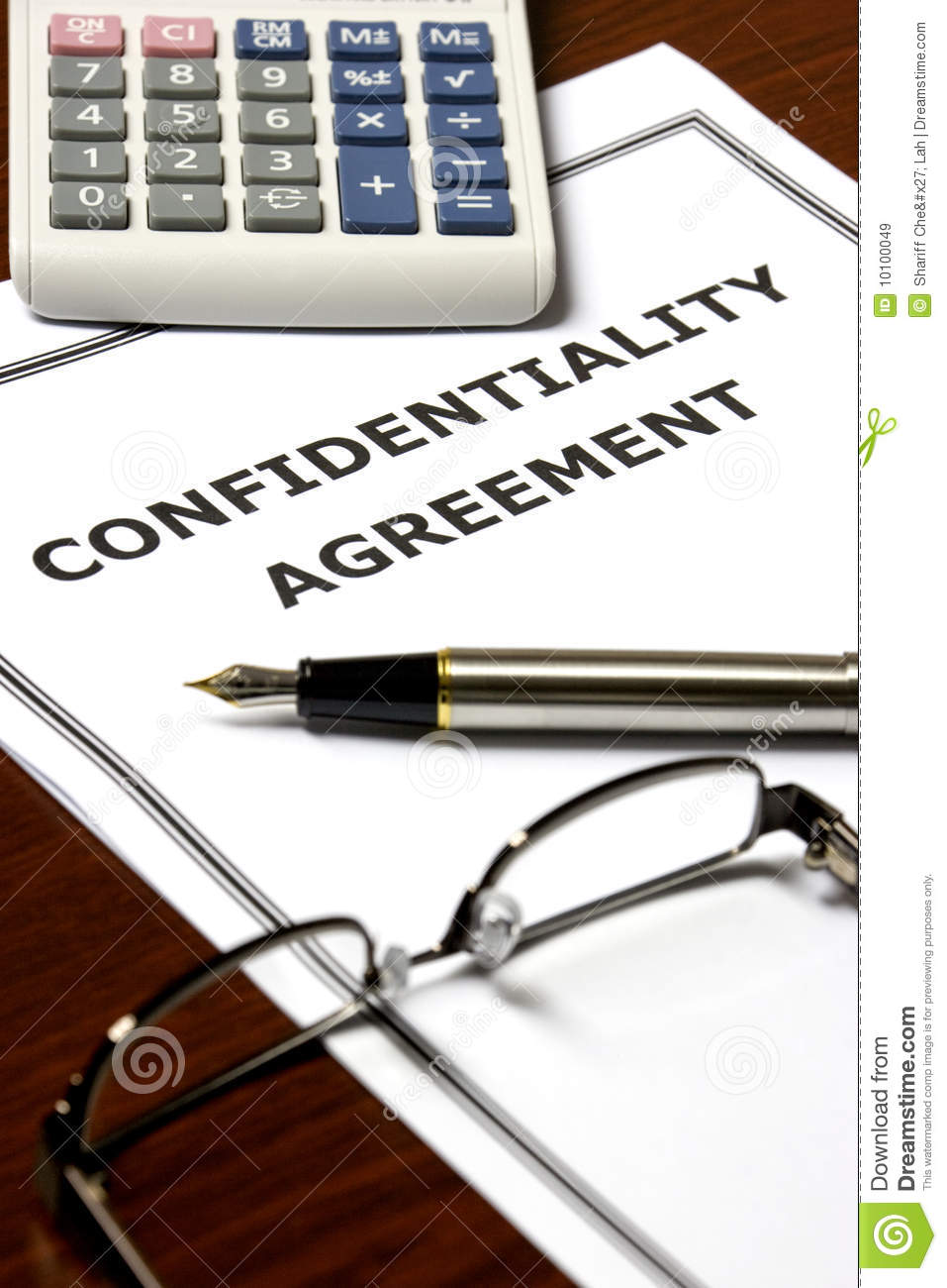 Confidentiality Agreement Stock Image Image Of Contractual 10100049