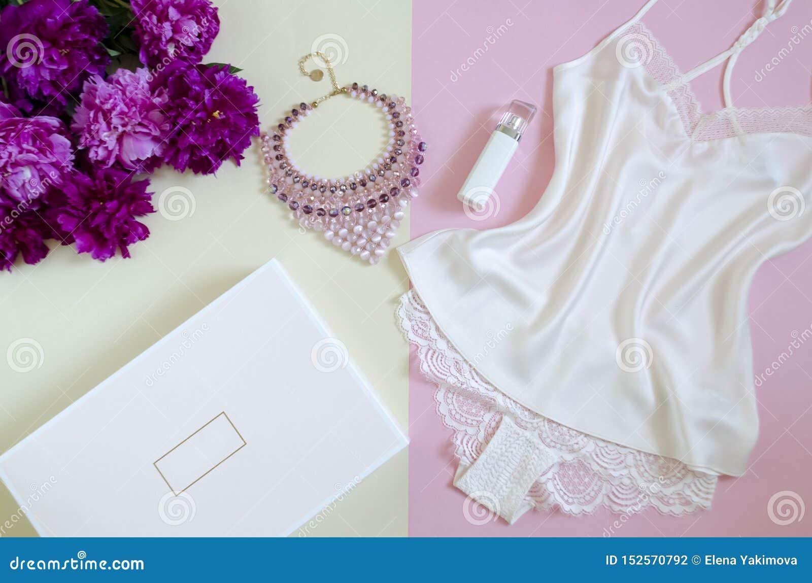 Configuração lisa, compartimentos, redes sociais vista superior do laço branco feminino Conceito da beleza acessórios de forma da