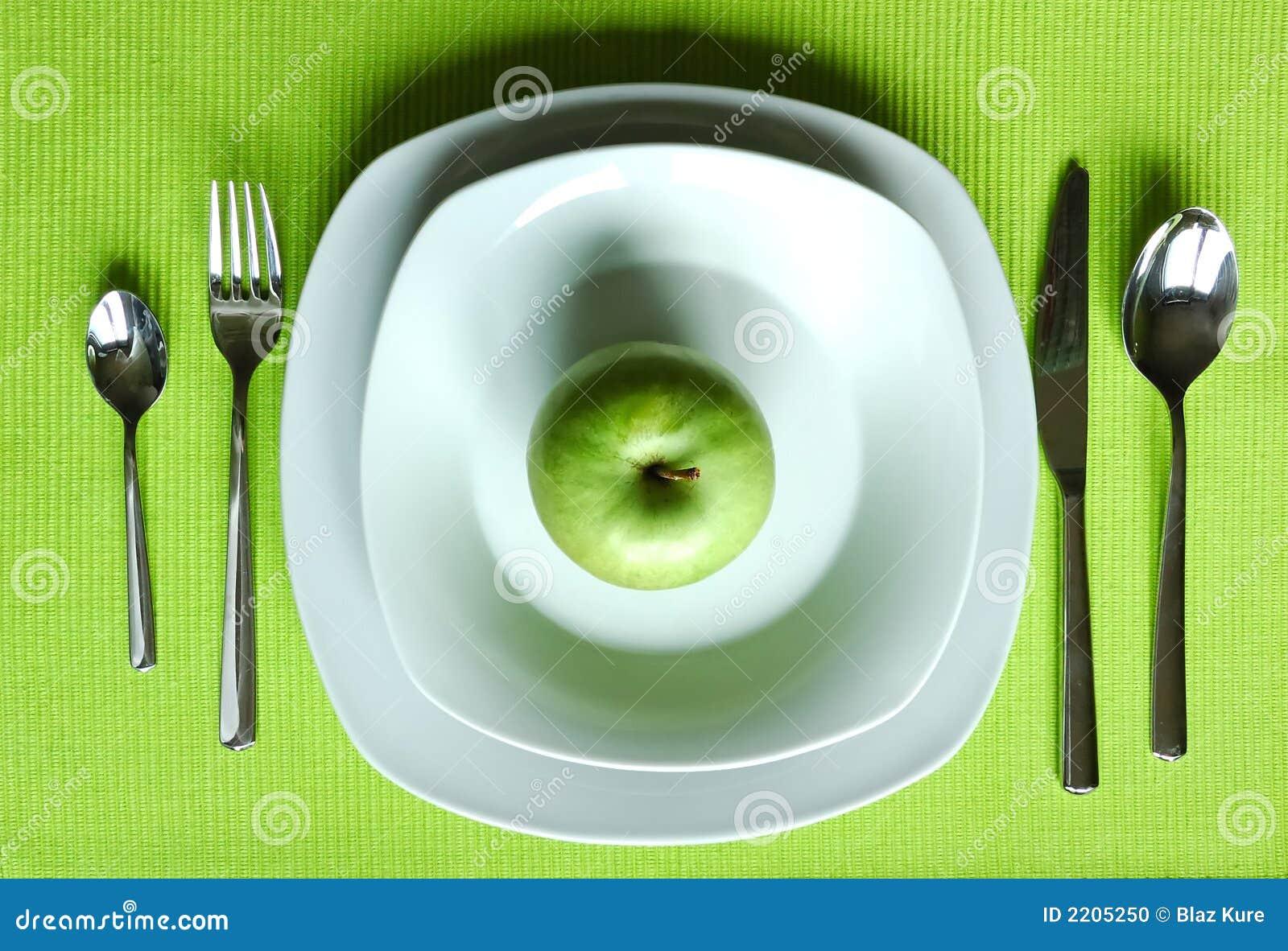 Configuración de cena sana