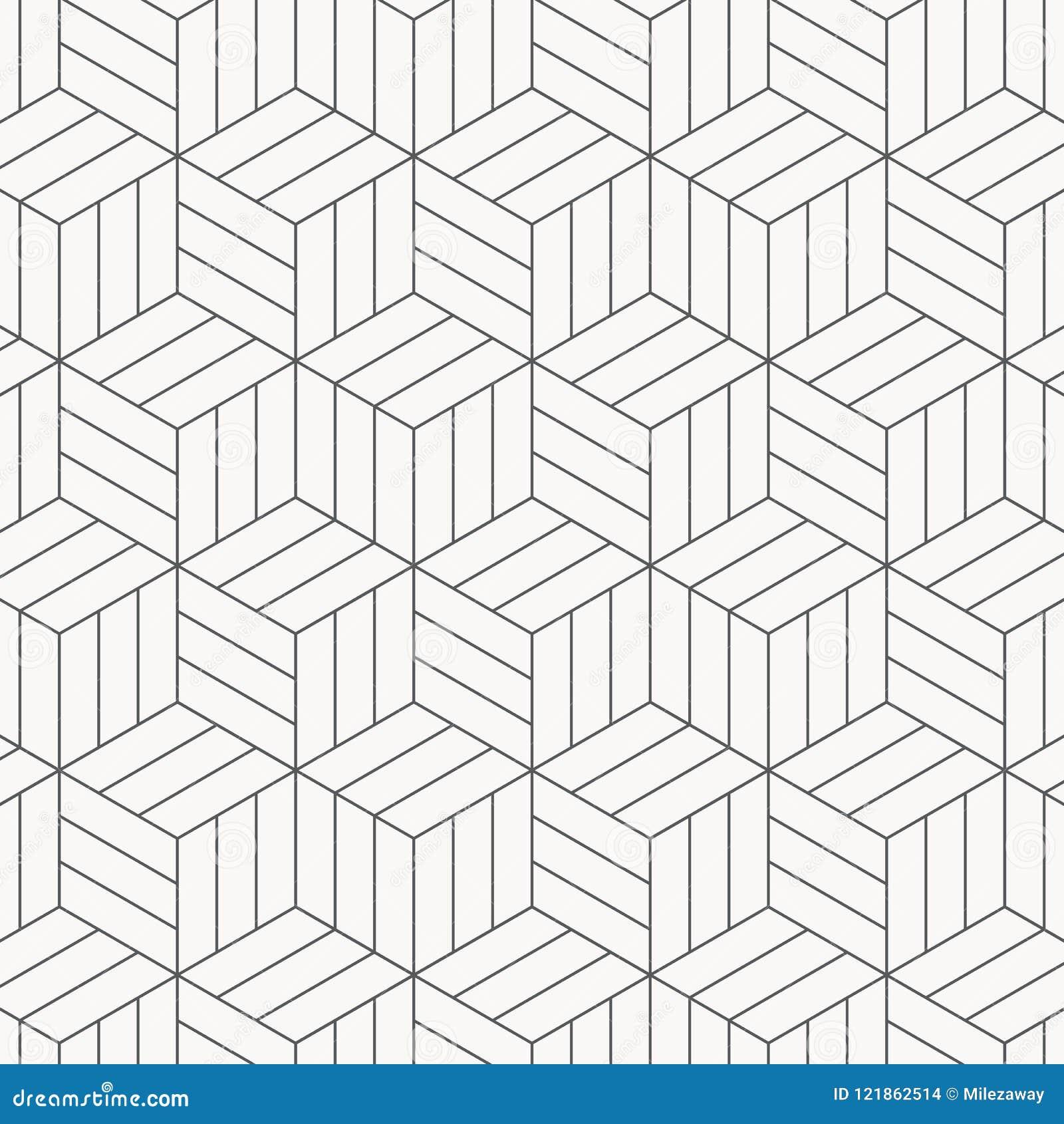 Configuration de vecteur texture élégante moderne Répétition des tuiles géométriques Cubes monochromes rayés
