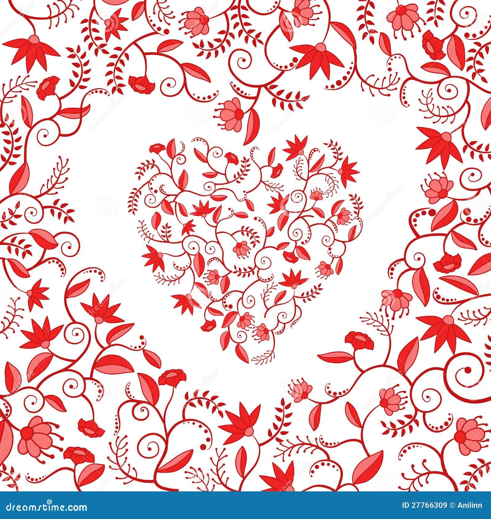 Configuration en forme de coeur florale rouge
