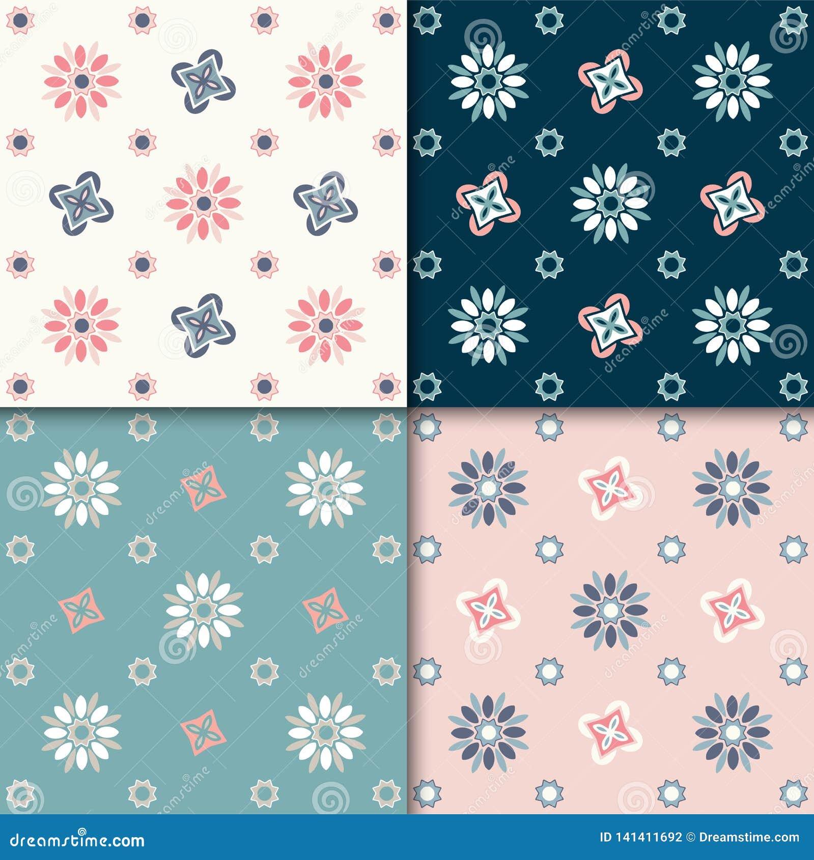 Configuration florale abstraite sans joint 4 variations de couleurs, couleurs en pastel