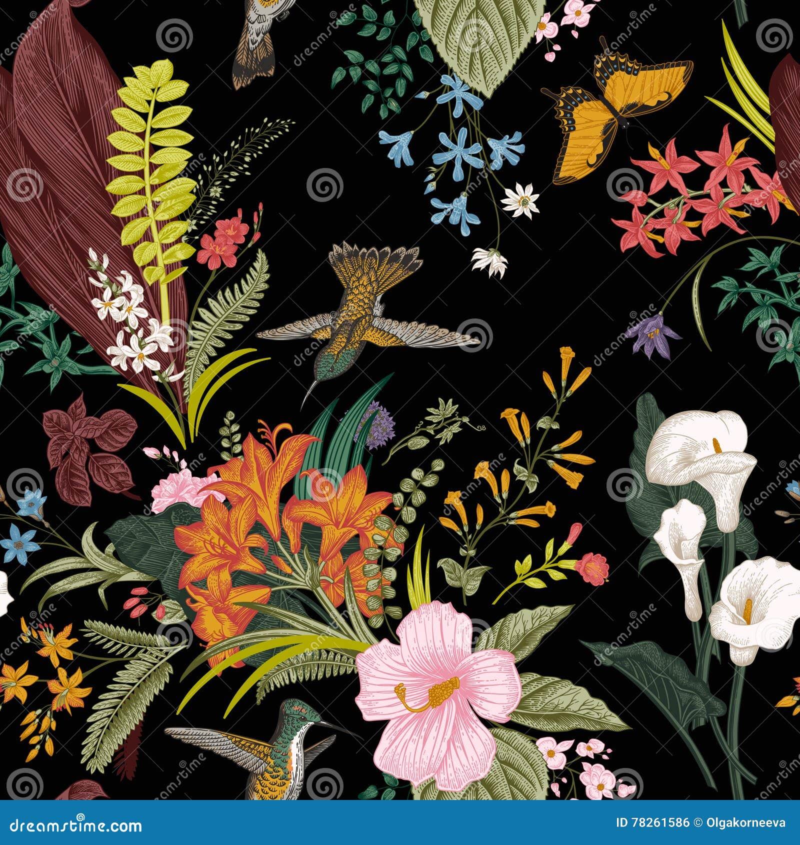 Configuration florale de cru sans joint de vecteur Fleurs et oiseaux exotiques
