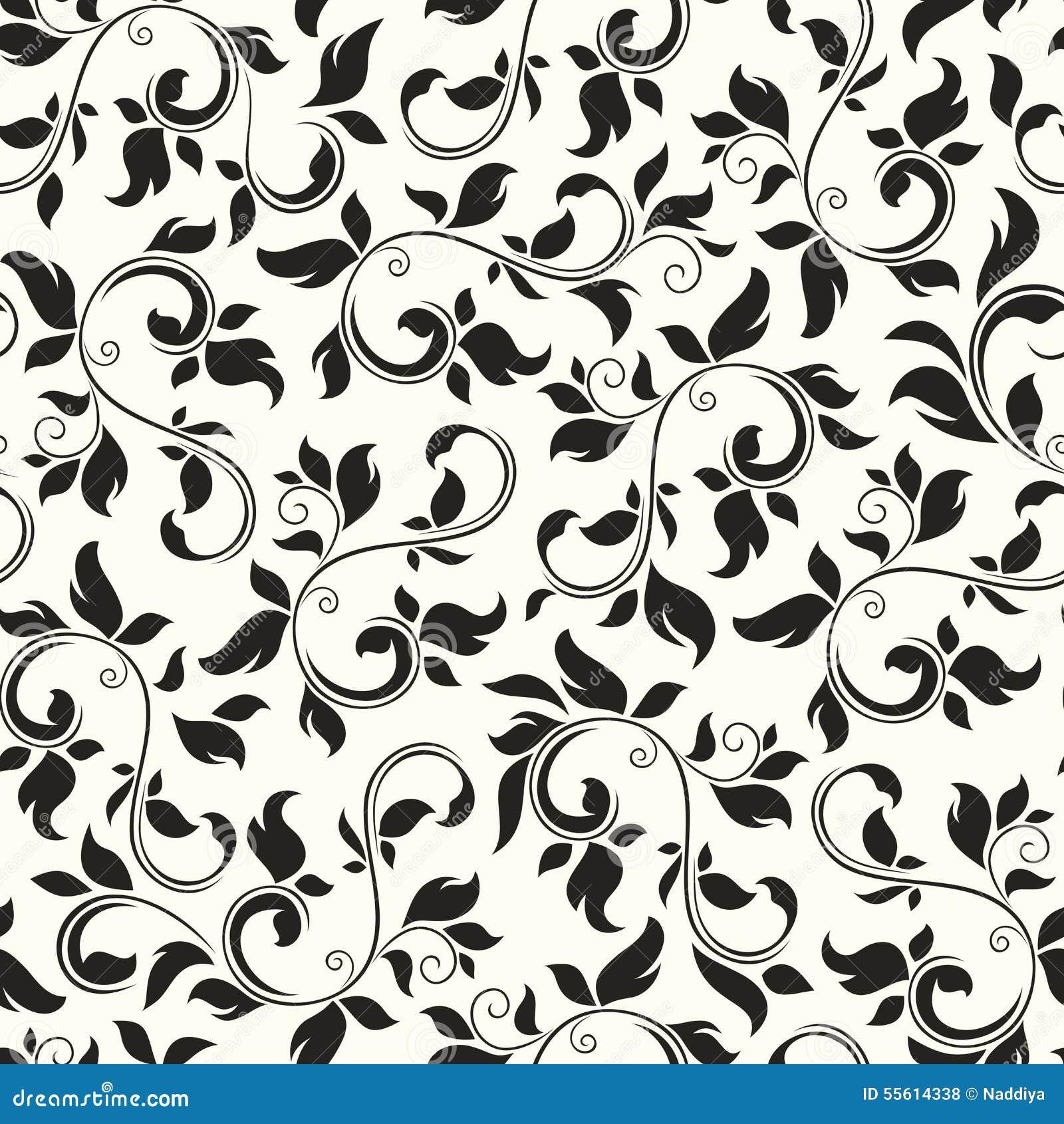 Configuration florale noire et blanche sans joint Illustration de vecteur