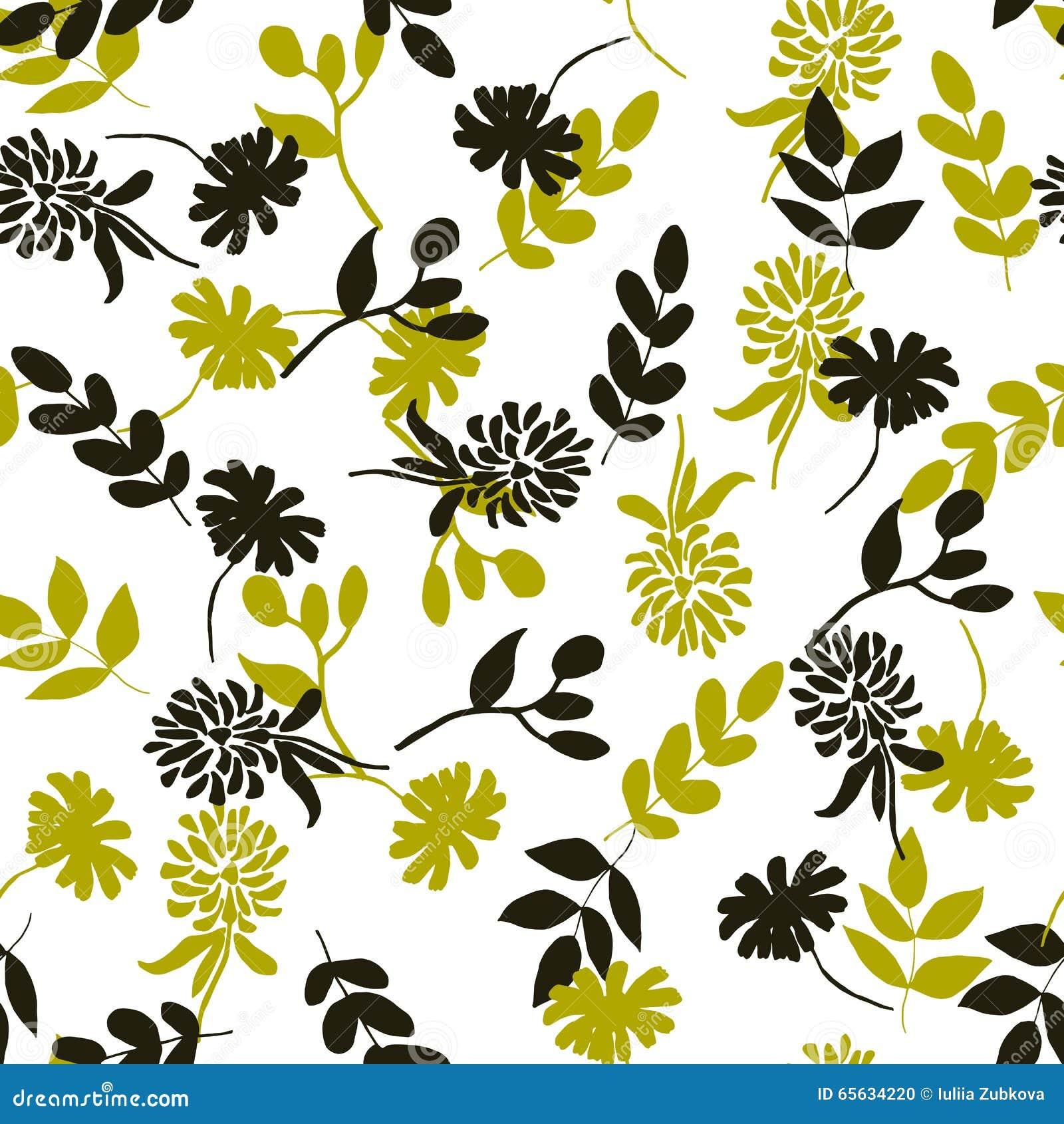 Configuration florale sans joint Fleurs noires et jaunes d isolement sur le wh