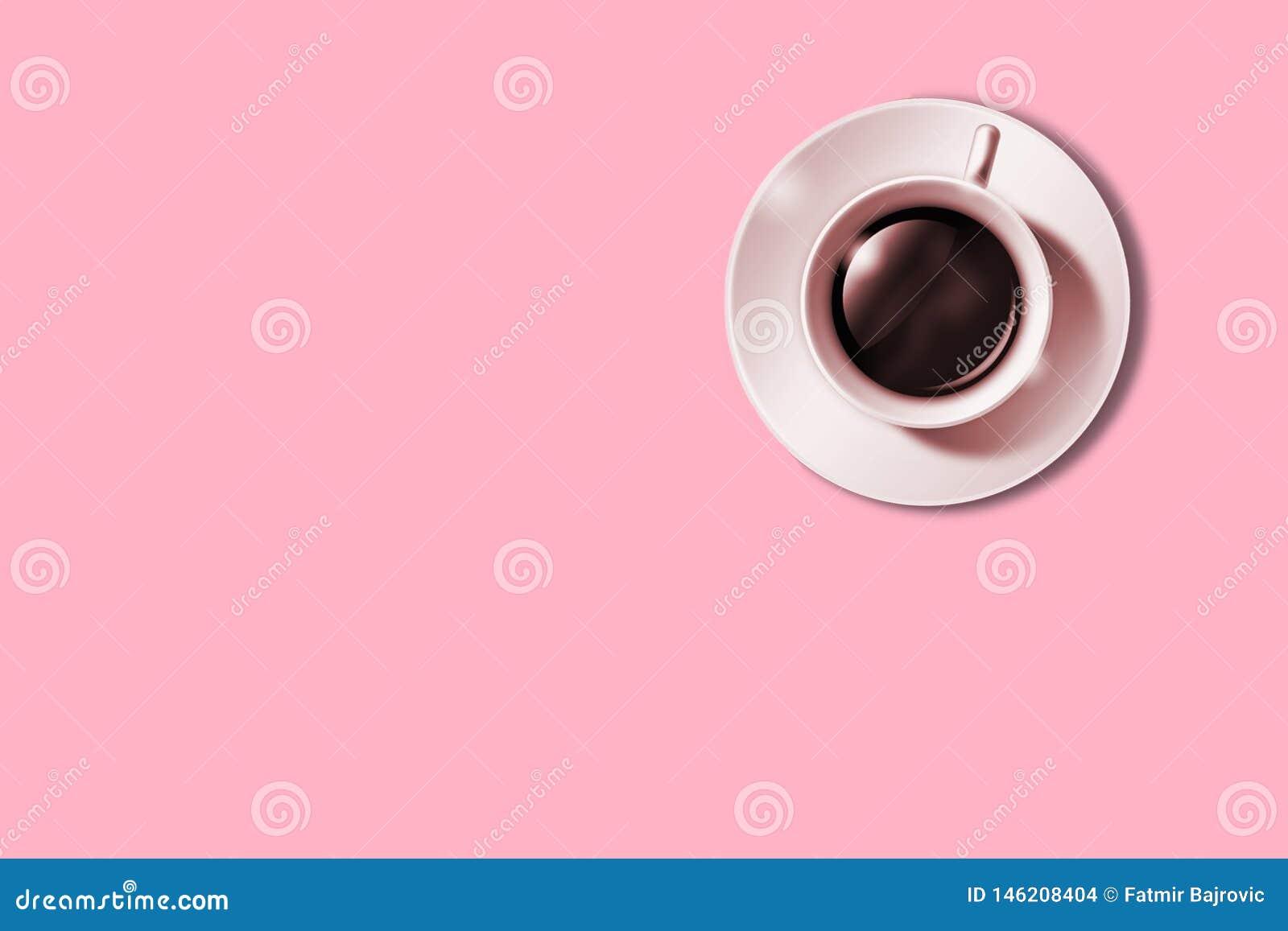 Configuration plate d image minimalistic de café sur le fond rose Concept de caf? de minimalisme
