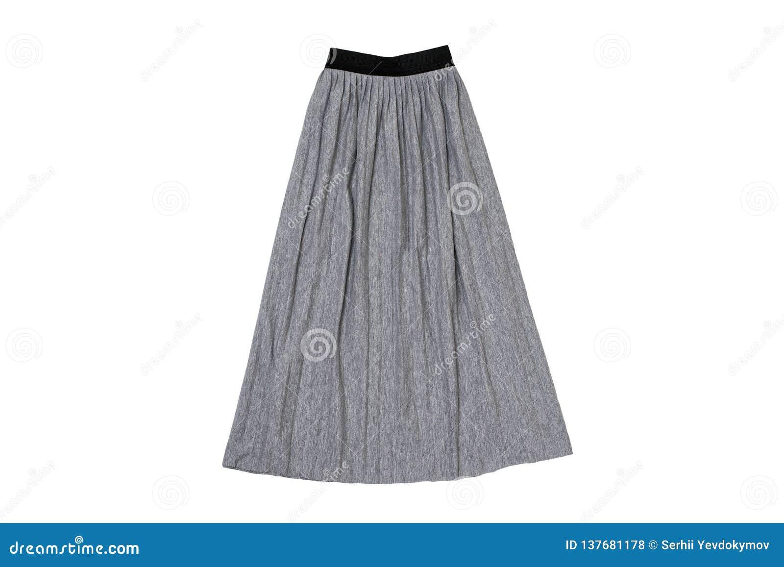Configuration plate plissée grise de jupe concept à la mode Isolat sur le fond blanc