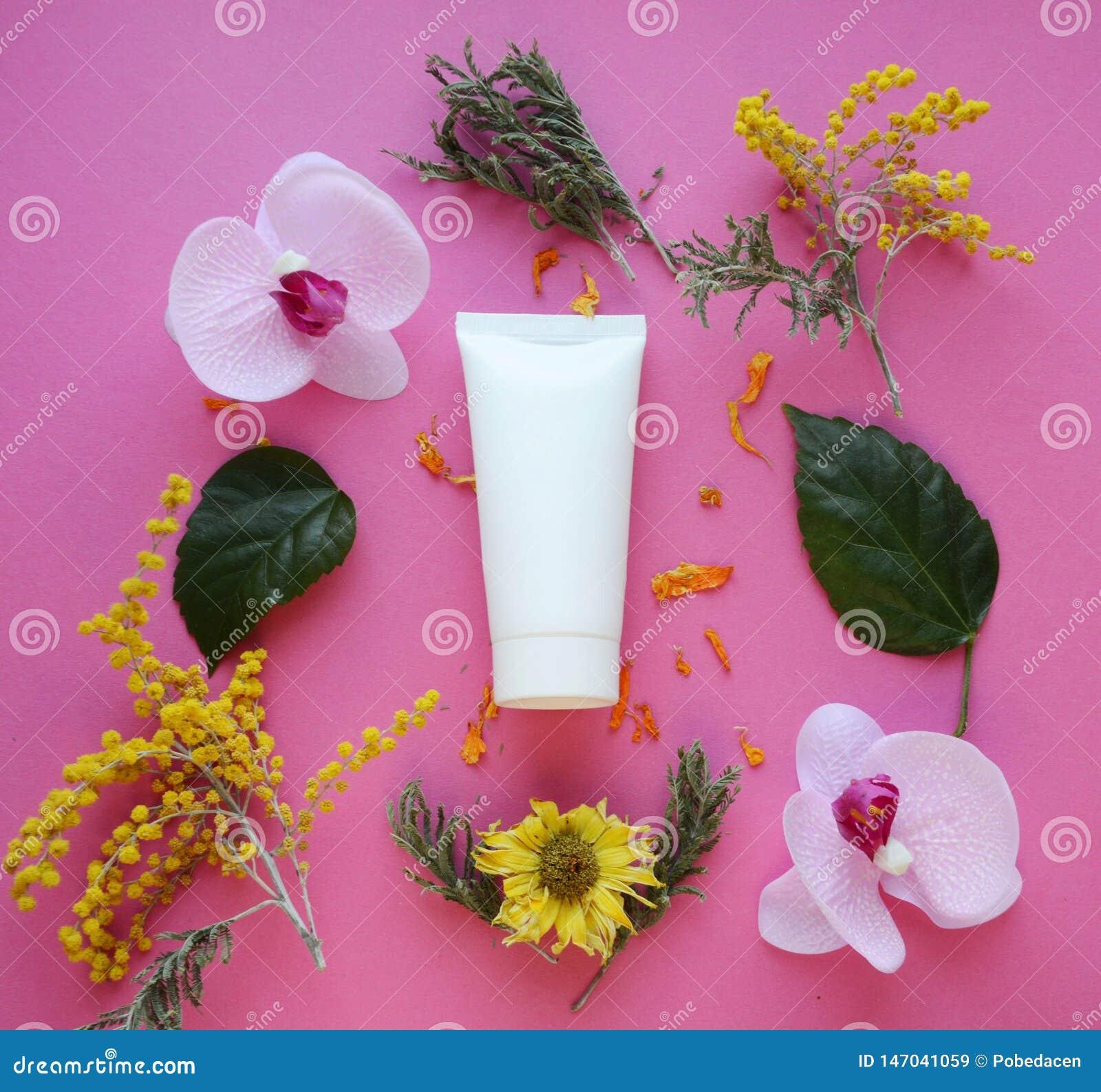 Configuration plate : Tube blanc pour la crème sur un fond rose