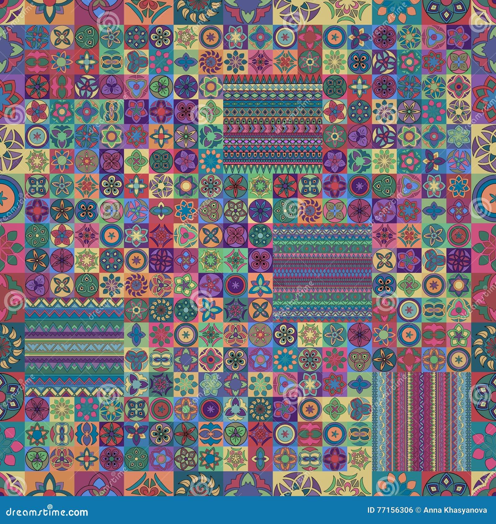 Configuration sans joint Éléments décoratifs de cru Fond tiré par la main L Islam, l arabe, Indien, motifs de tabouret Perfection
