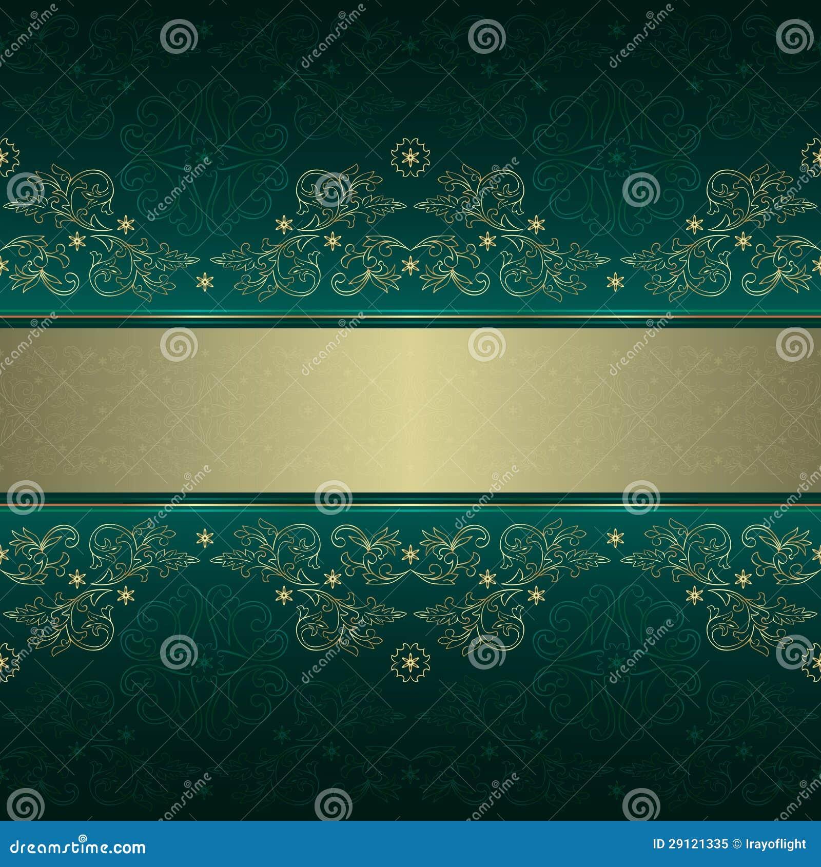 Configuration sans joint de cru floral d or vert