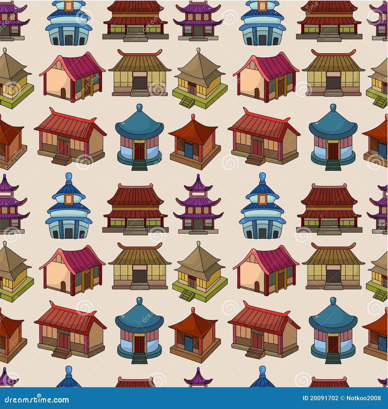 Configuration sans joint de maison chinoise de dessin animé