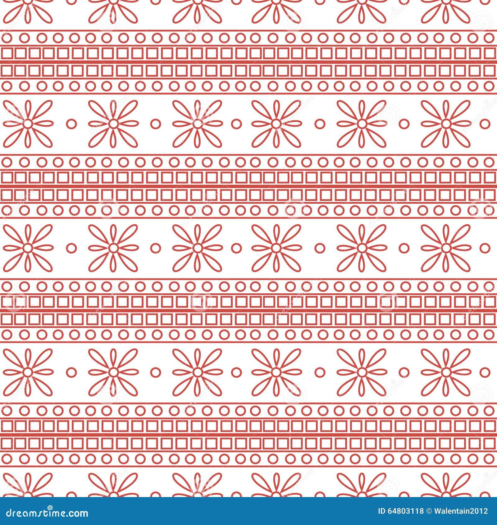 Configuration sans joint de vecteur Fond géométrique symétrique avec les places et les fleurs roses sur le contexte blanc Ornemen