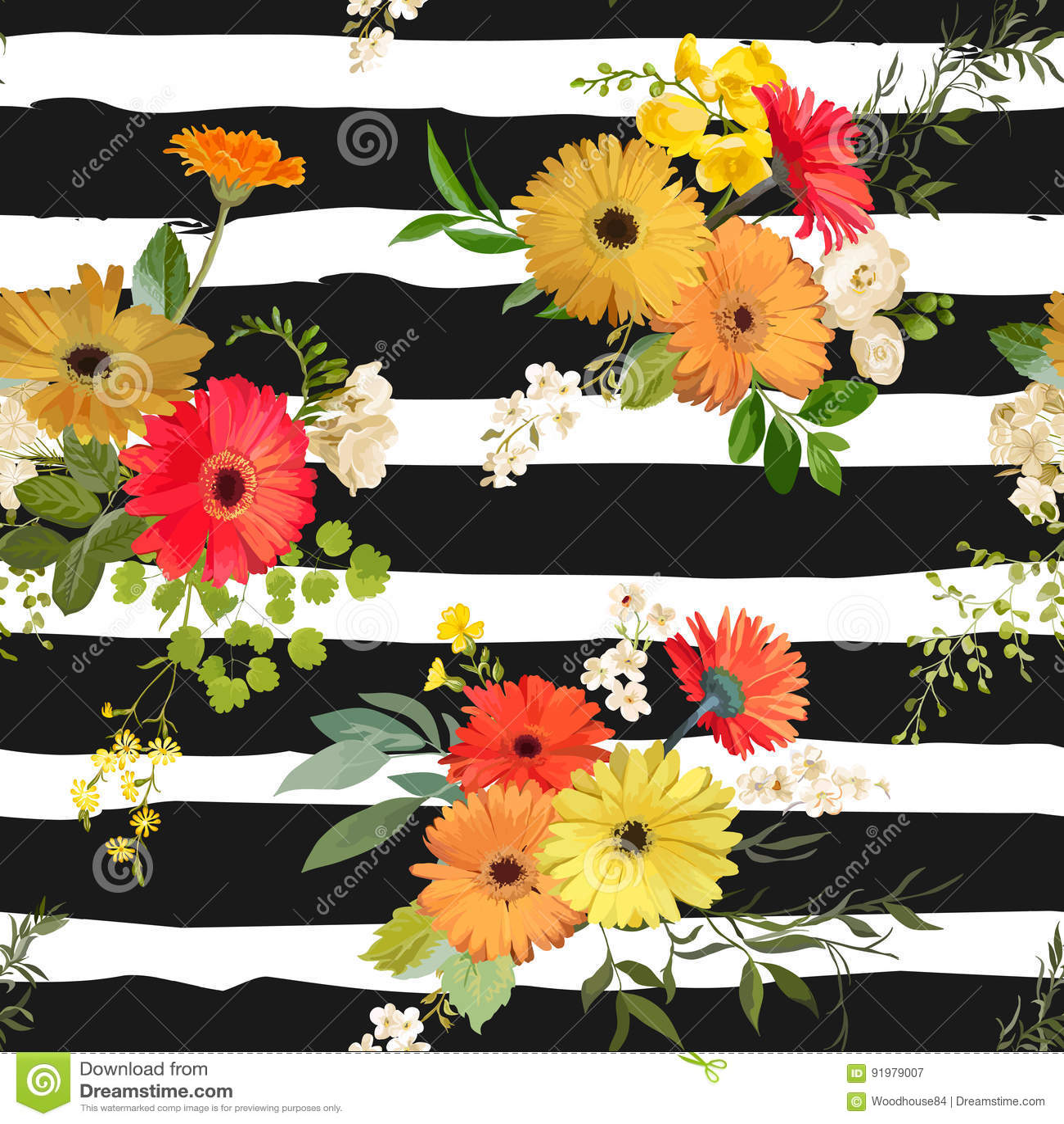 Configuration sans joint florale Été et Autumn Flowers Background