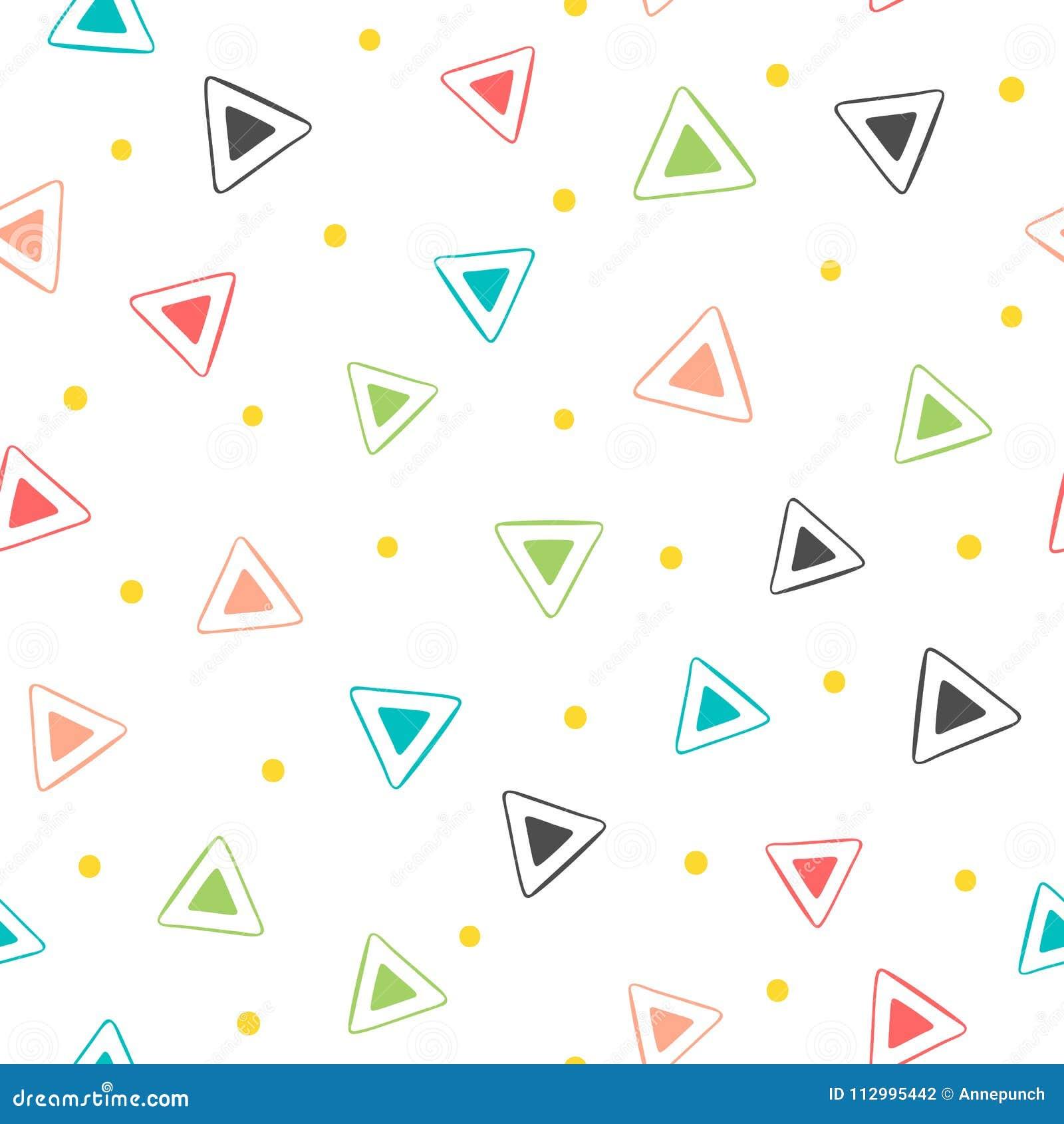 Configuration sans joint géométrique colorée Triangles répétées et points ronds Dessiné à la main