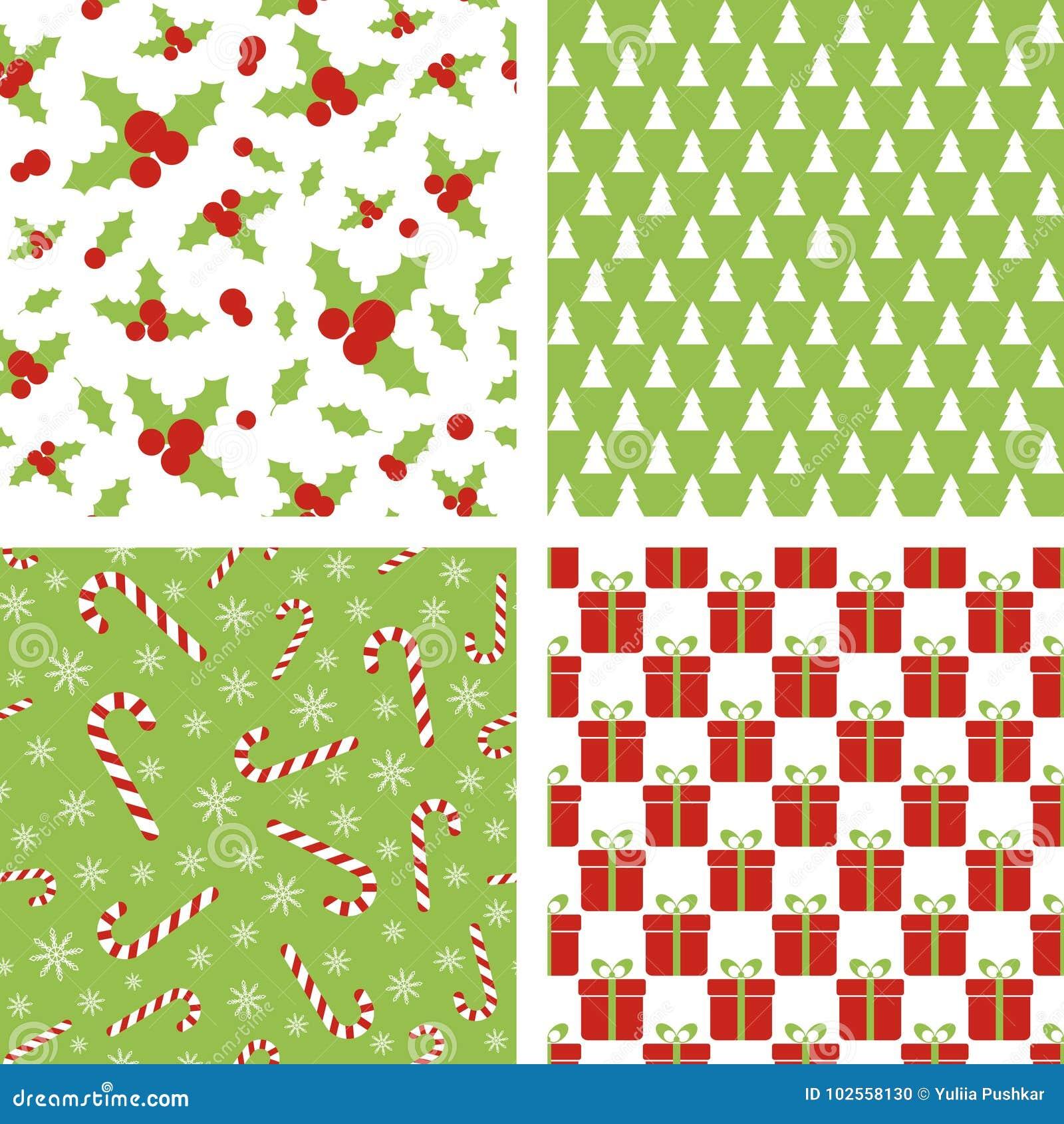 Configurations sans joint de Noël Ensemble de milieux pour le papier d emballage, papier peint, conception de tissu