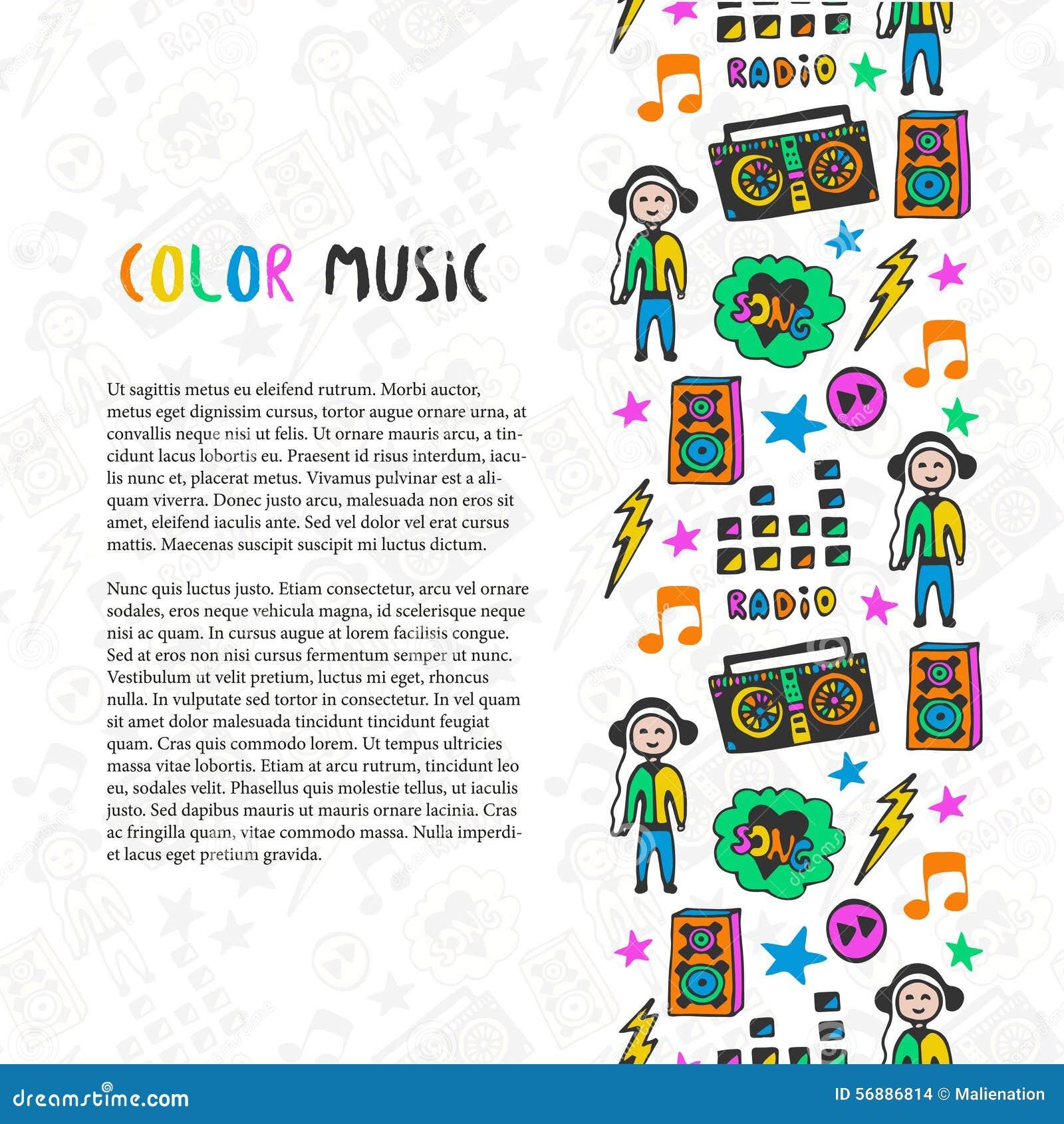 Confine disegnato a mano di musica Icone variopinte di schizzo di musica Modello per l aletta di filatoio, insegna, manifesto, op