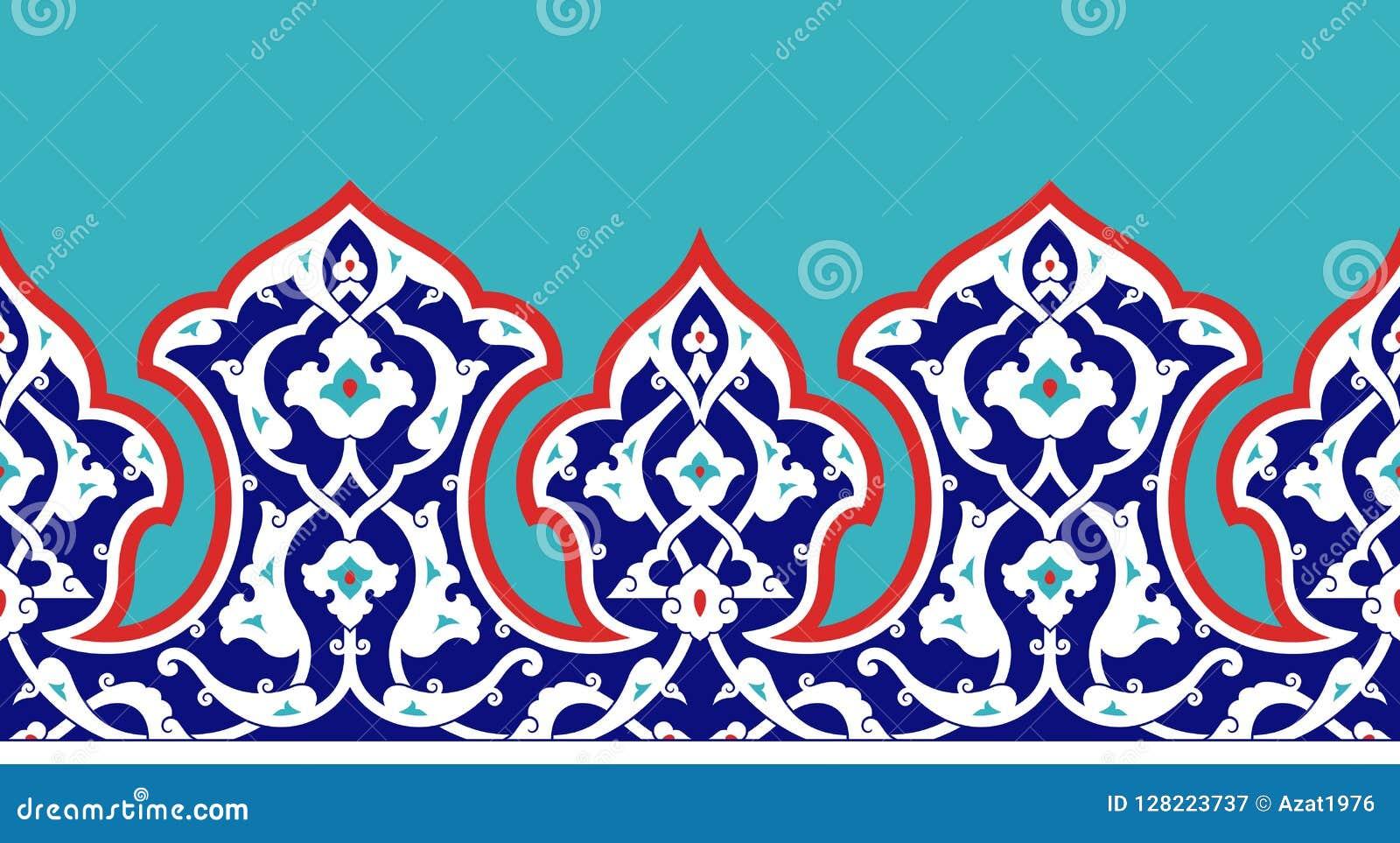 Confine floreale per la vostra progettazione Ornamento senza cuciture del ï del ¿ dell ottomano turco tradizionale del ½ Nicea
