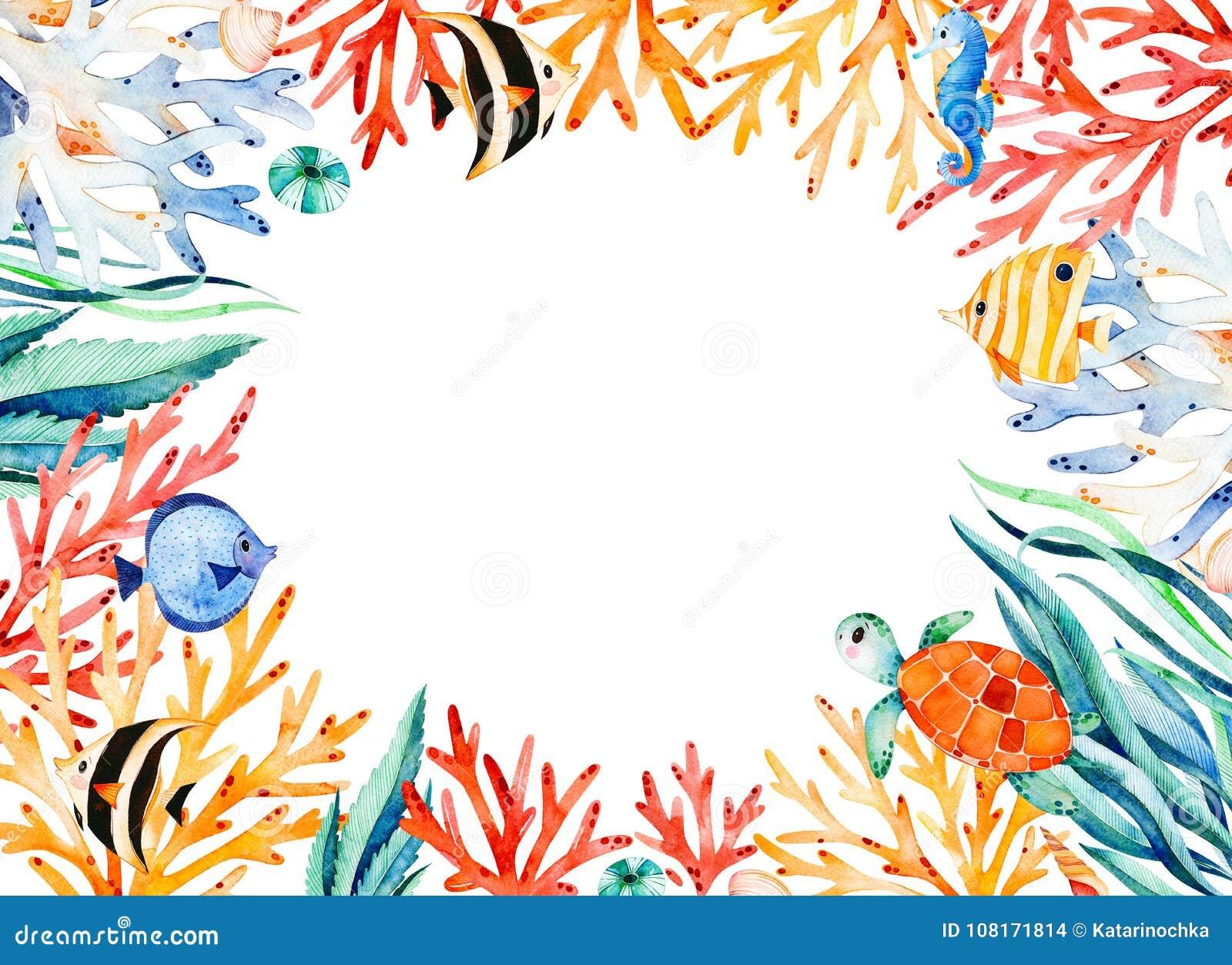 Confine oceanico della struttura dell acquerello con la tartaruga sveglia, alga, barriera corallina, pesci, ippocampo