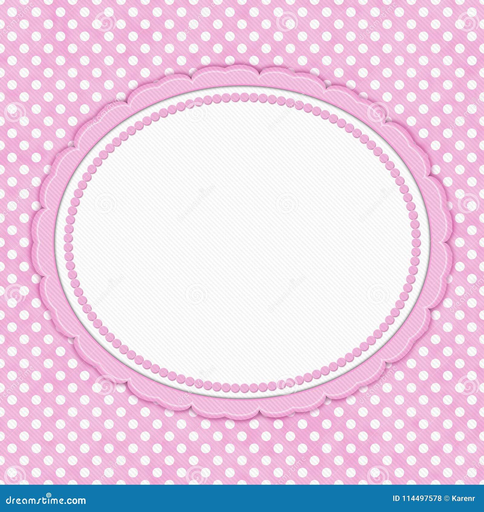 Confine Ovale Del Pois Rosa E Bianco Con Lo Spazio Della Copia