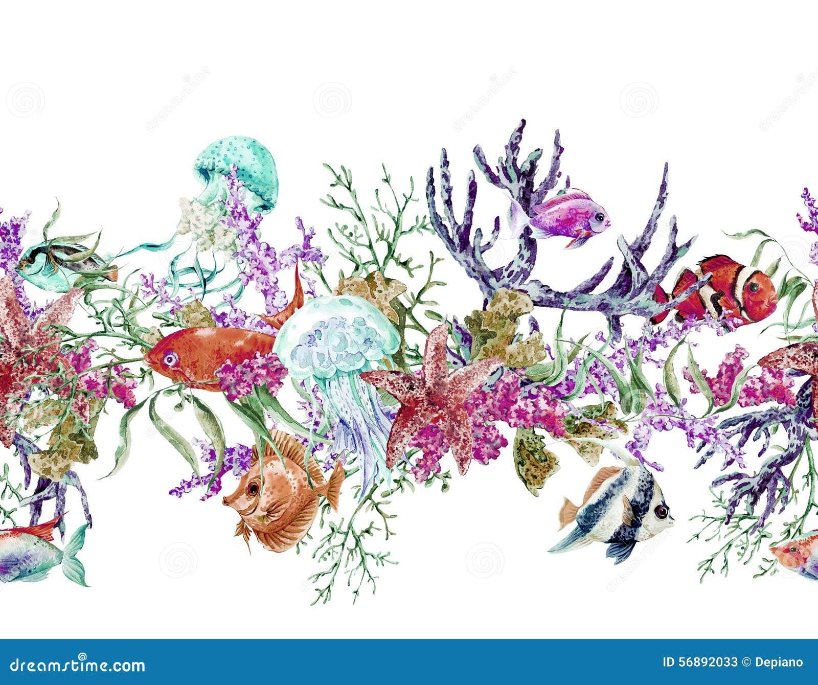 Confine senza cuciture d annata di vita di mare dell acquerello di estate