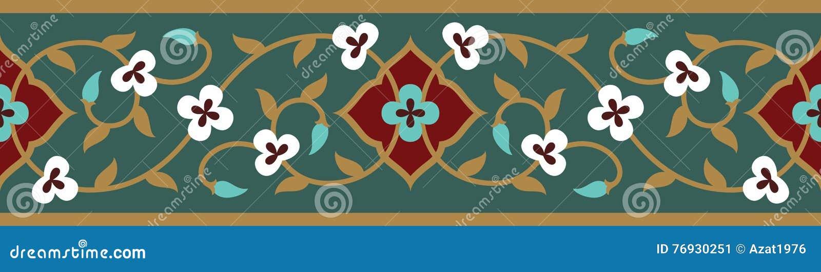 Confine senza cuciture floreale arabo Progettazione islamica tradizionale