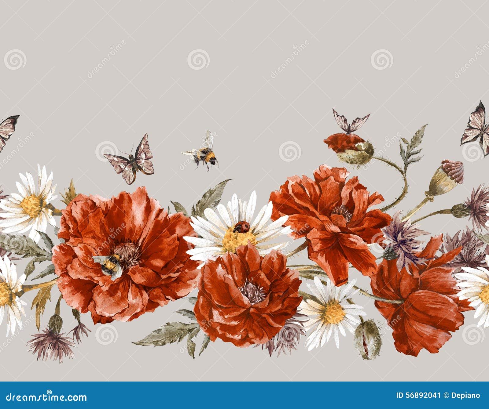 Confine senza cuciture floreale d annata dell acquerello di estate